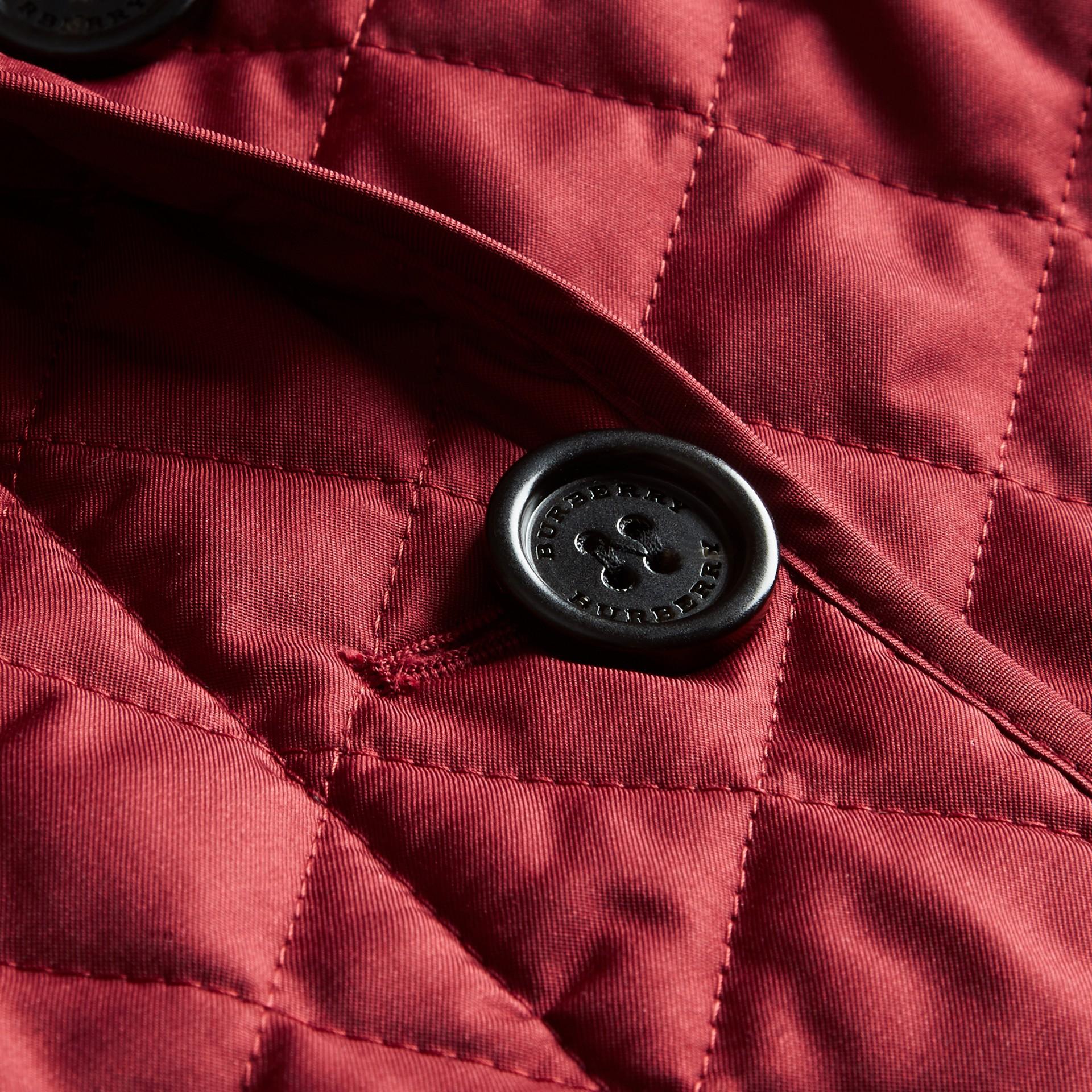Diamond Quilted Peplum Jacket Dark Crimson - gallery image 2