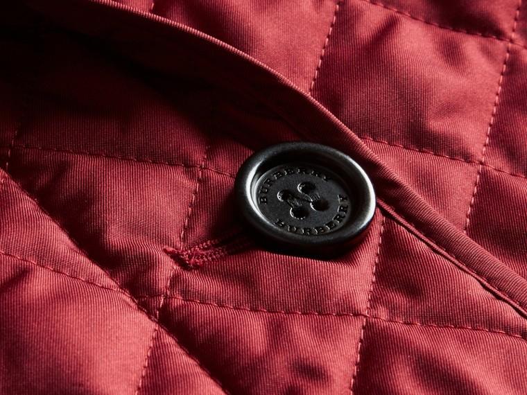 Diamond Quilted Peplum Jacket Dark Crimson - cell image 1