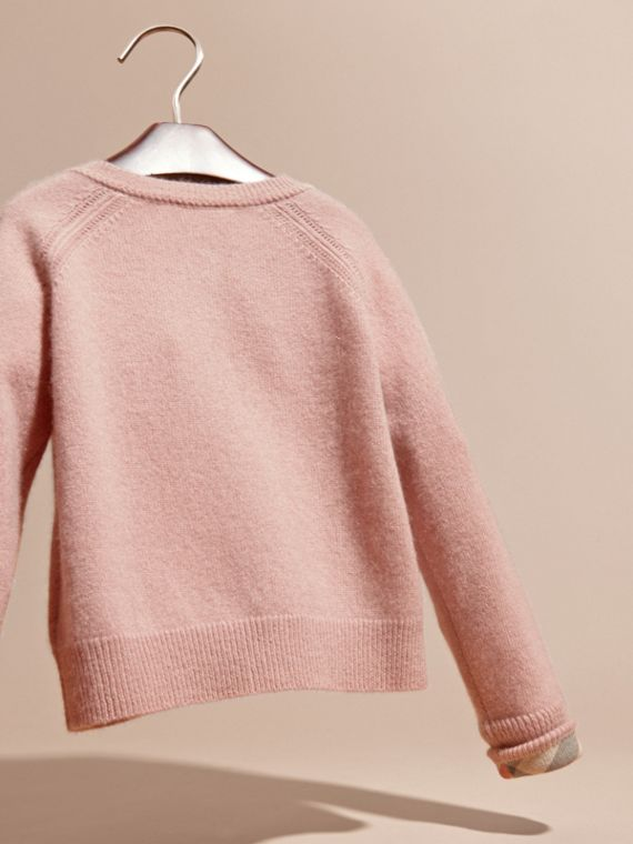 Check Cuff Cashmere Cardigan in Pale Ash Rose - cell image 3