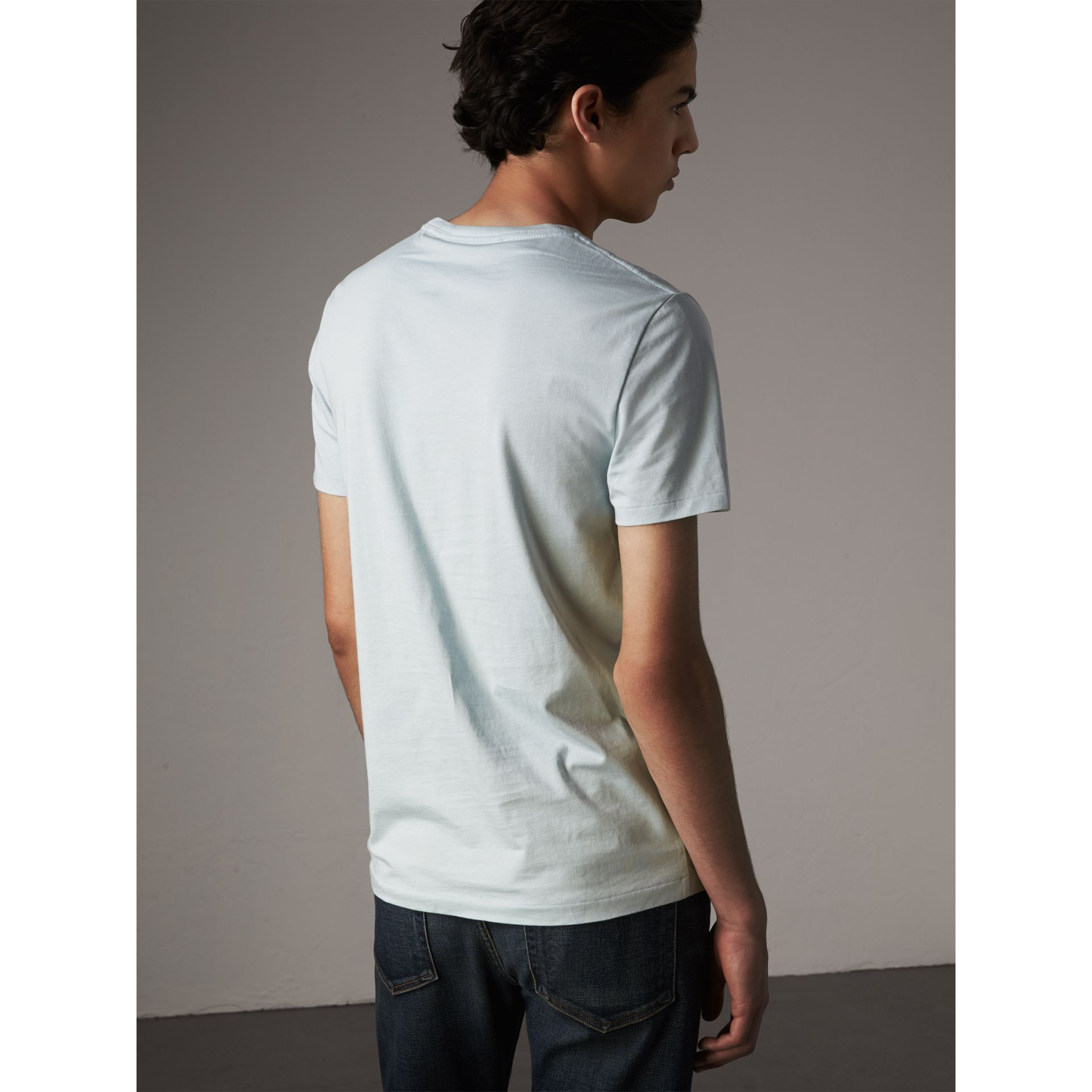 Cotton Jersey T-shirt in Pale Opal Blue - Men | Burberry - gallery image 3