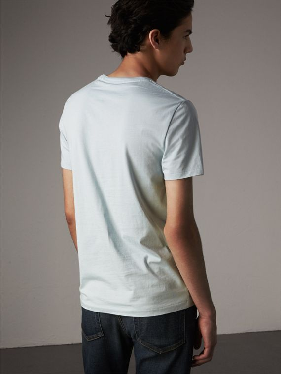 Cotton Jersey T-shirt in Pale Opal Blue - Men | Burberry - cell image 2