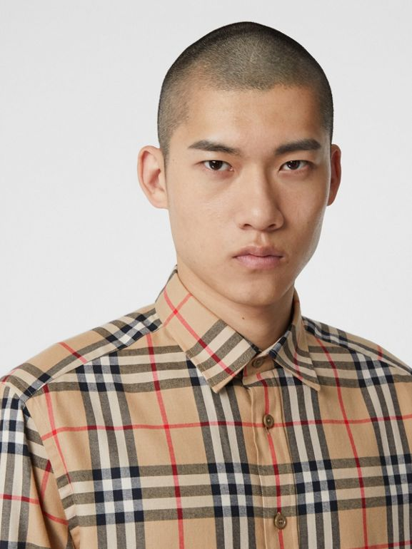 Vintage Check Cotton Flannel Shirt in Archive Beige - Men | Burberry - cell image 1