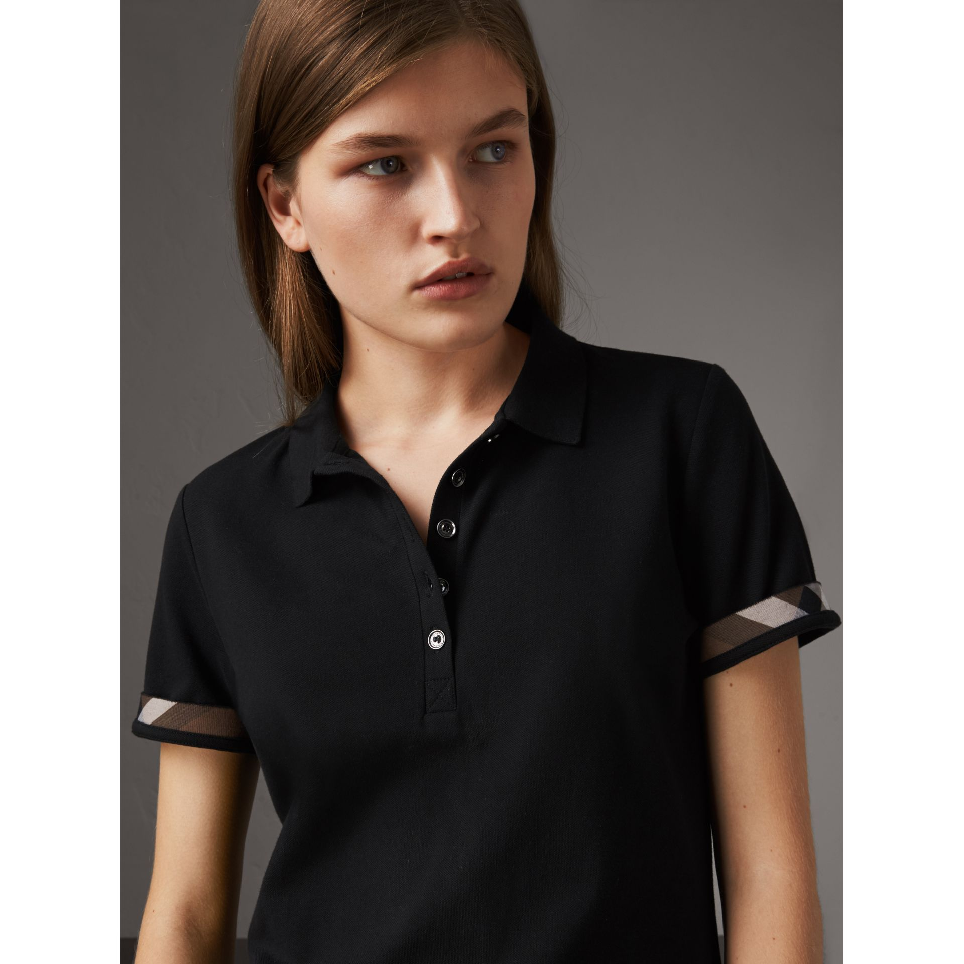 Check Trim Stretch Cotton Piqué Polo Shirt in Black - Women | Burberry - gallery image 1