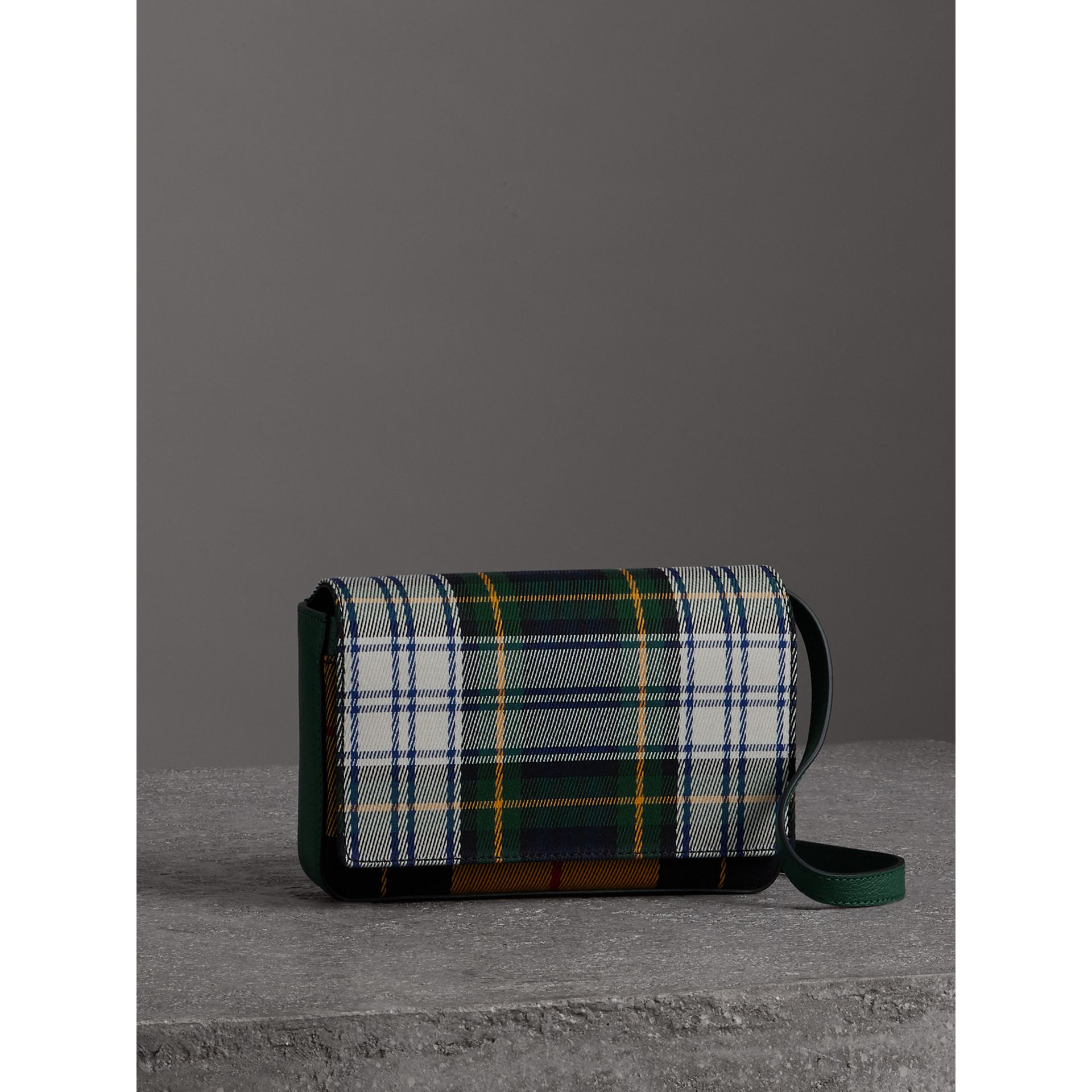 Tartan and Leather Wallet with Detachable Strap in Green/multicolour - Women | Burberry Australia - gallery image 5
