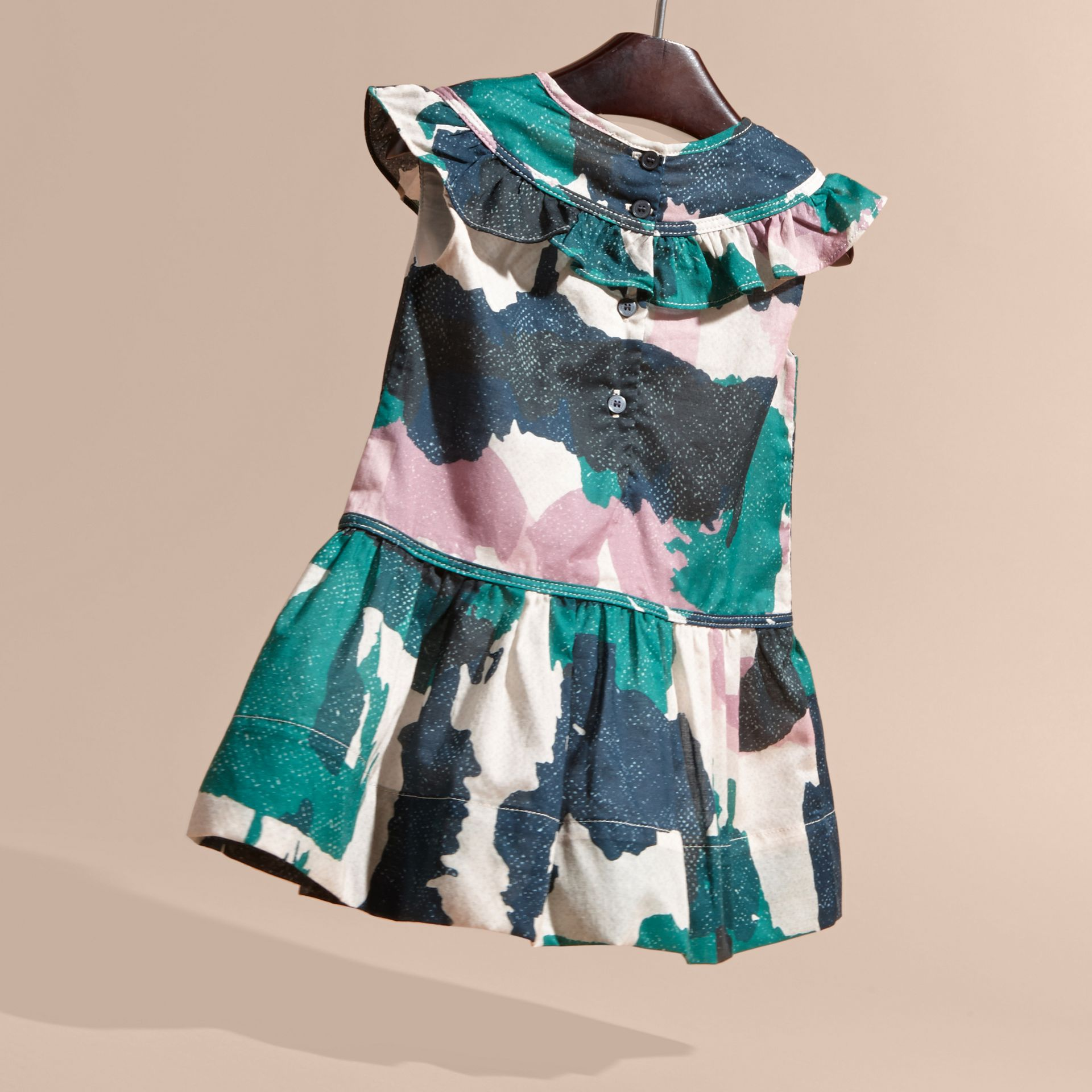 Teal green Painterly Print Ruffle Trim Cotton Dress - gallery image 4