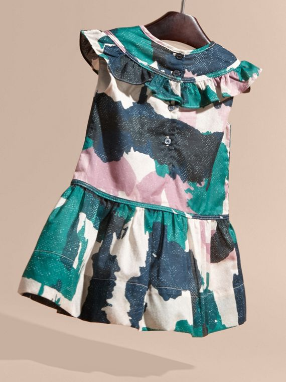 Teal green Painterly Print Ruffle Trim Cotton Dress - cell image 3