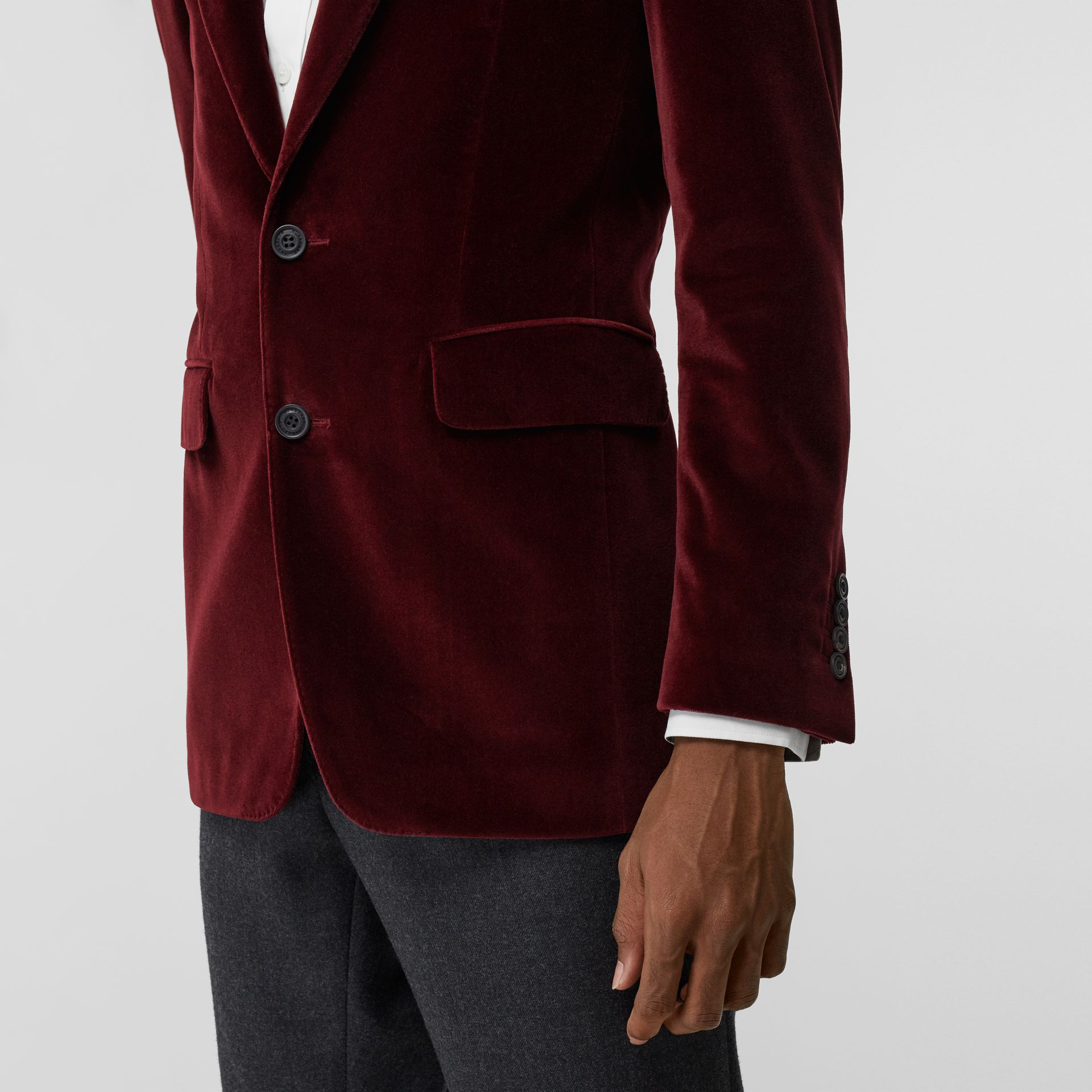 Classic Fit Velvet Tailored Jacket in Burgundy - Men | Burberry - gallery image 5