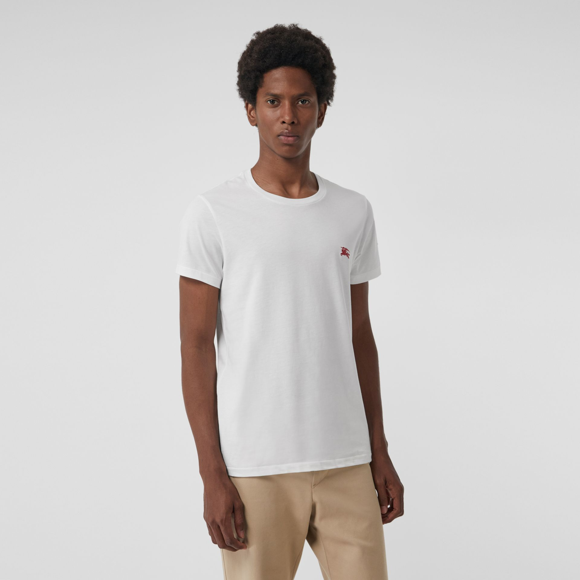Cotton Jersey T-shirt in White - Men | Burberry Canada - gallery image 4