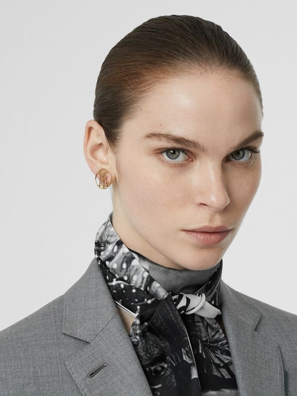Victorian Portrait Print Silk Skinny Scarf in Grey | Burberry - cell image 2