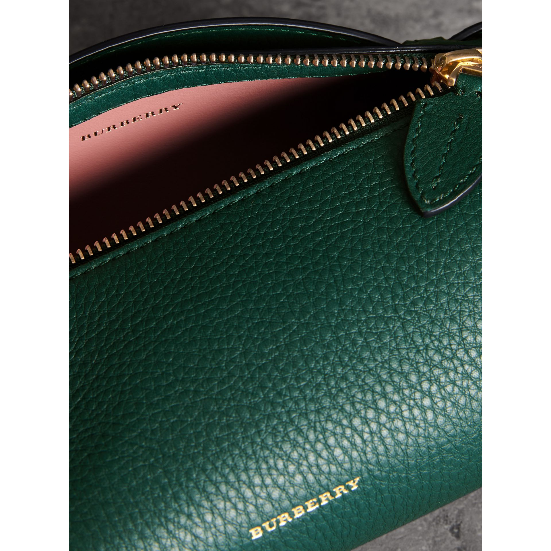 The Leather Barrel Bag in Dark Cyan - Women | Burberry Hong Kong - gallery image 5