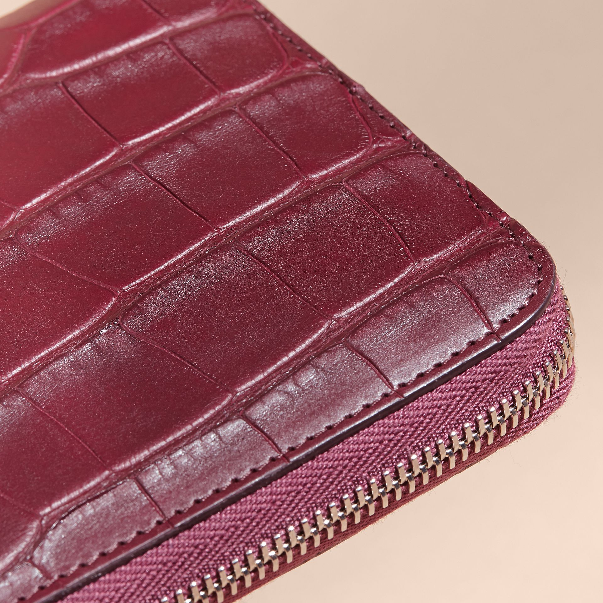Deep claret Alligator and Leather Ziparound Wallet - gallery image 2