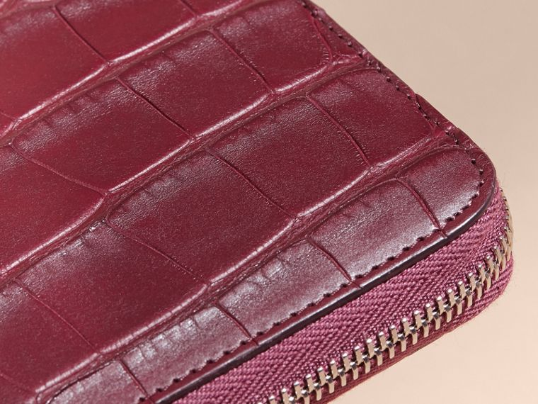 Deep claret Alligator and Leather Ziparound Wallet - cell image 1