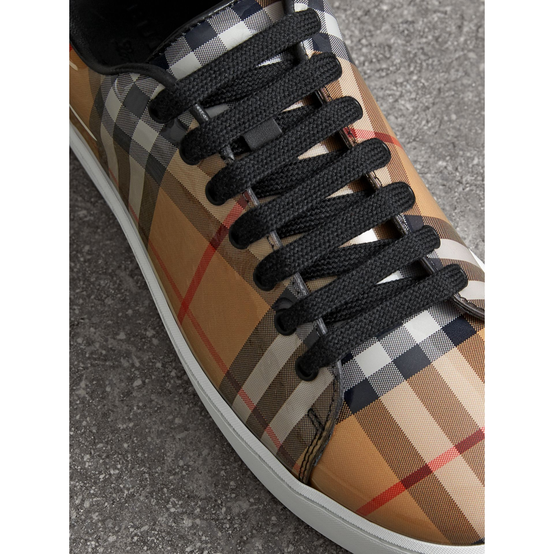 Vintage Check and Leather Sneakers in Antique Yellow - Women | Burberry United Kingdom - gallery image 1