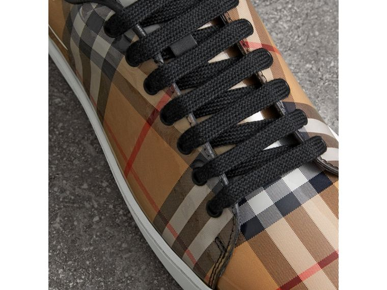 Vintage Check and Leather Sneakers in Antique Yellow - Women | Burberry - cell image 1