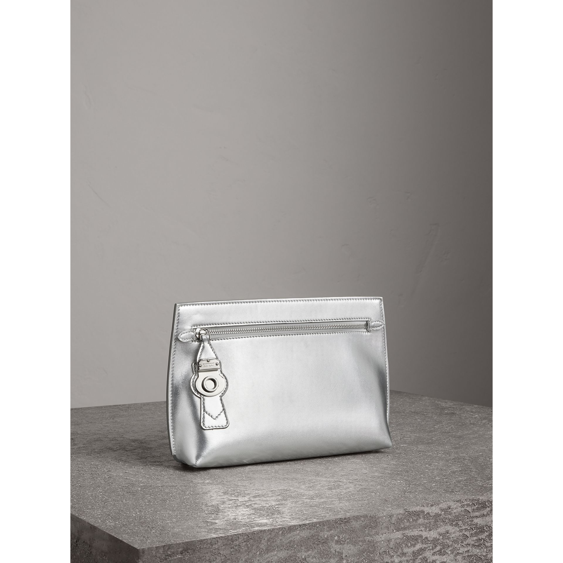 Metallic Trench Leather Pouch in Silver - Women | Burberry - gallery image 6