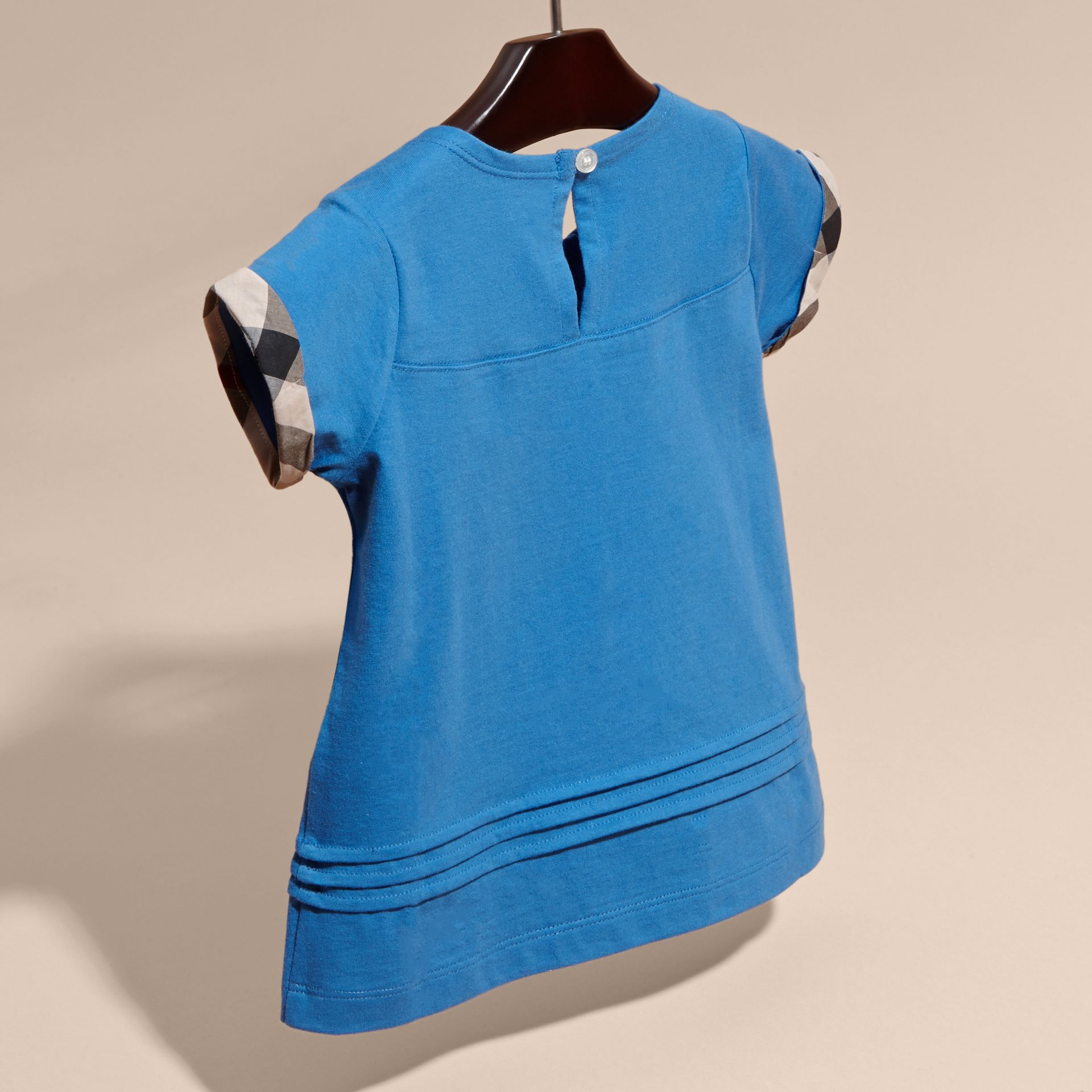 Pleat and Check Detail Cotton T-shirt Hydrangea Blue - gallery image 4