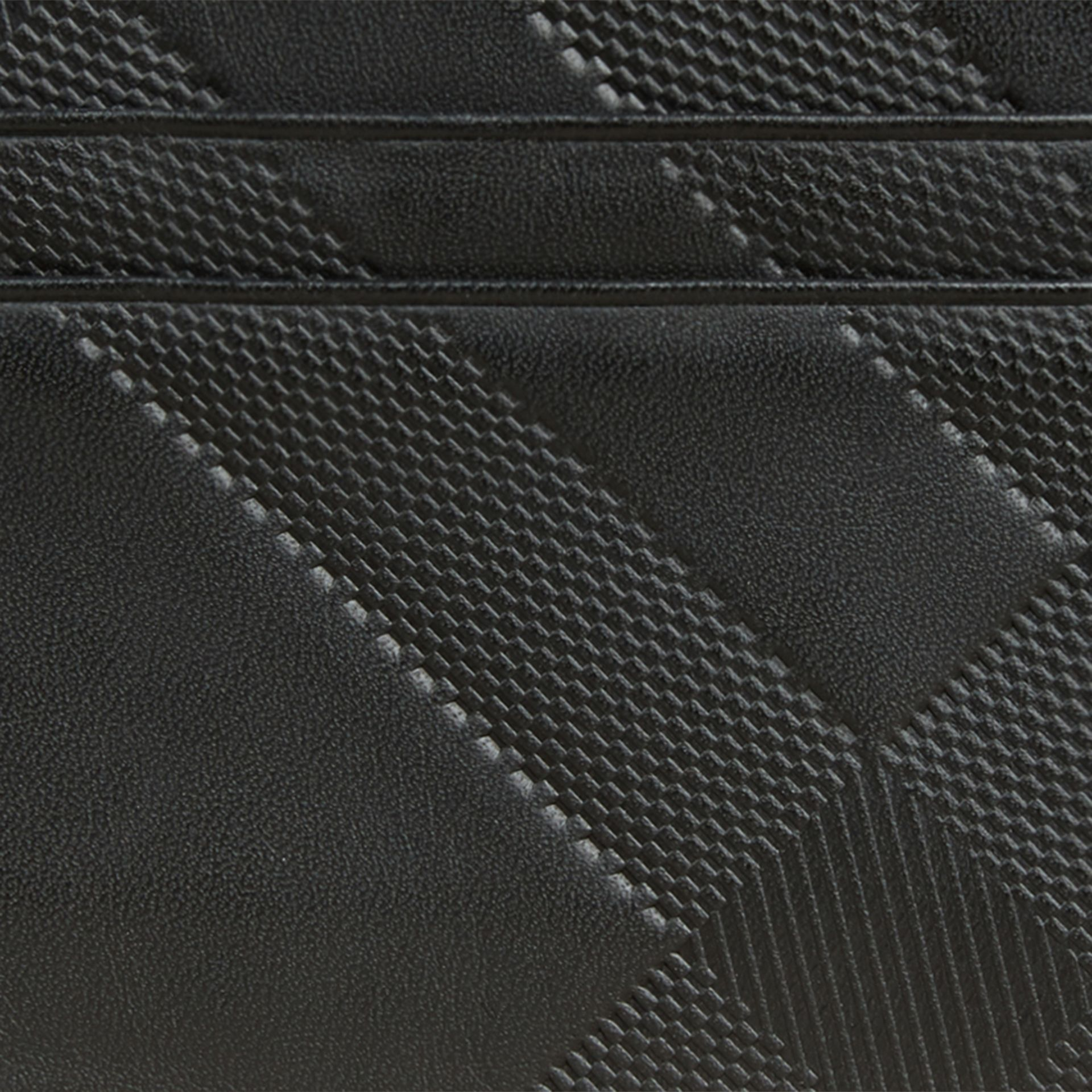 Black Check Embossed Leather Card Case Black - gallery image 2