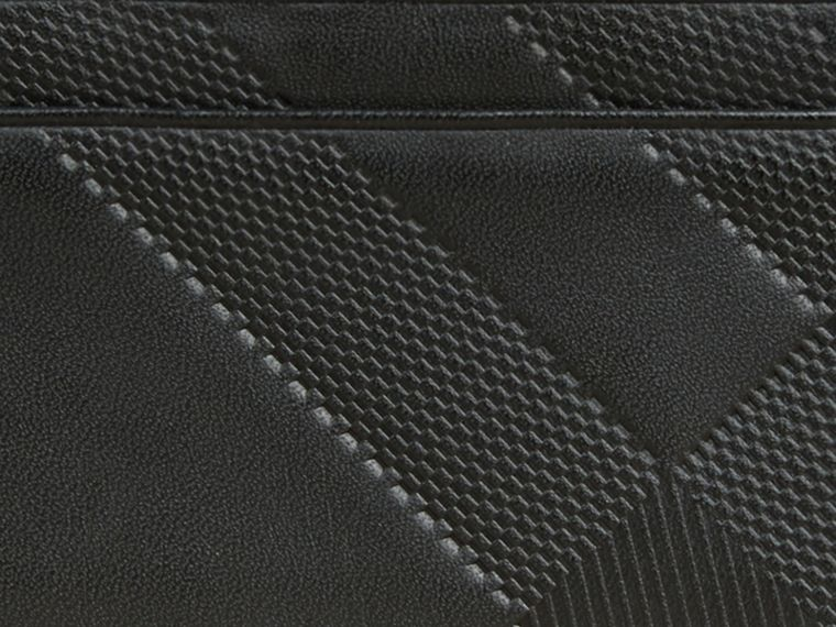Black Check Embossed Leather Card Case Black - cell image 1