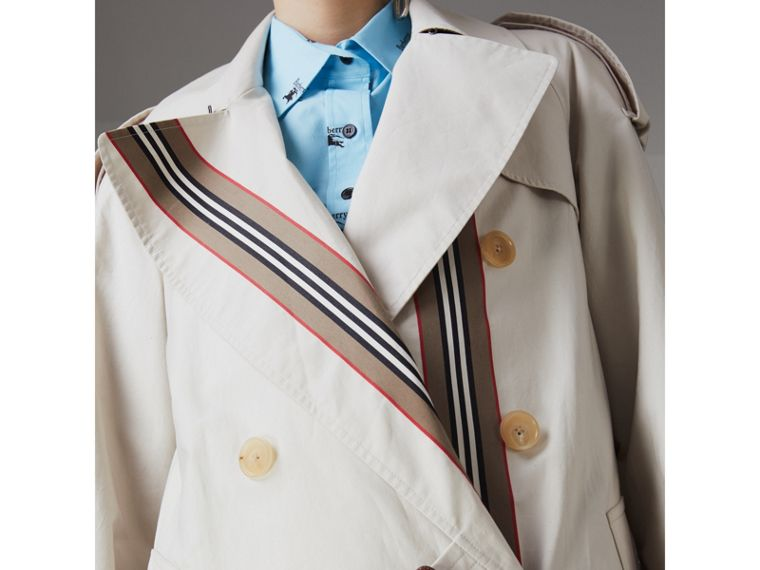 Heritage Stripe Cotton Gabardine Trench Coat in Stone - Women | Burberry - cell image 1