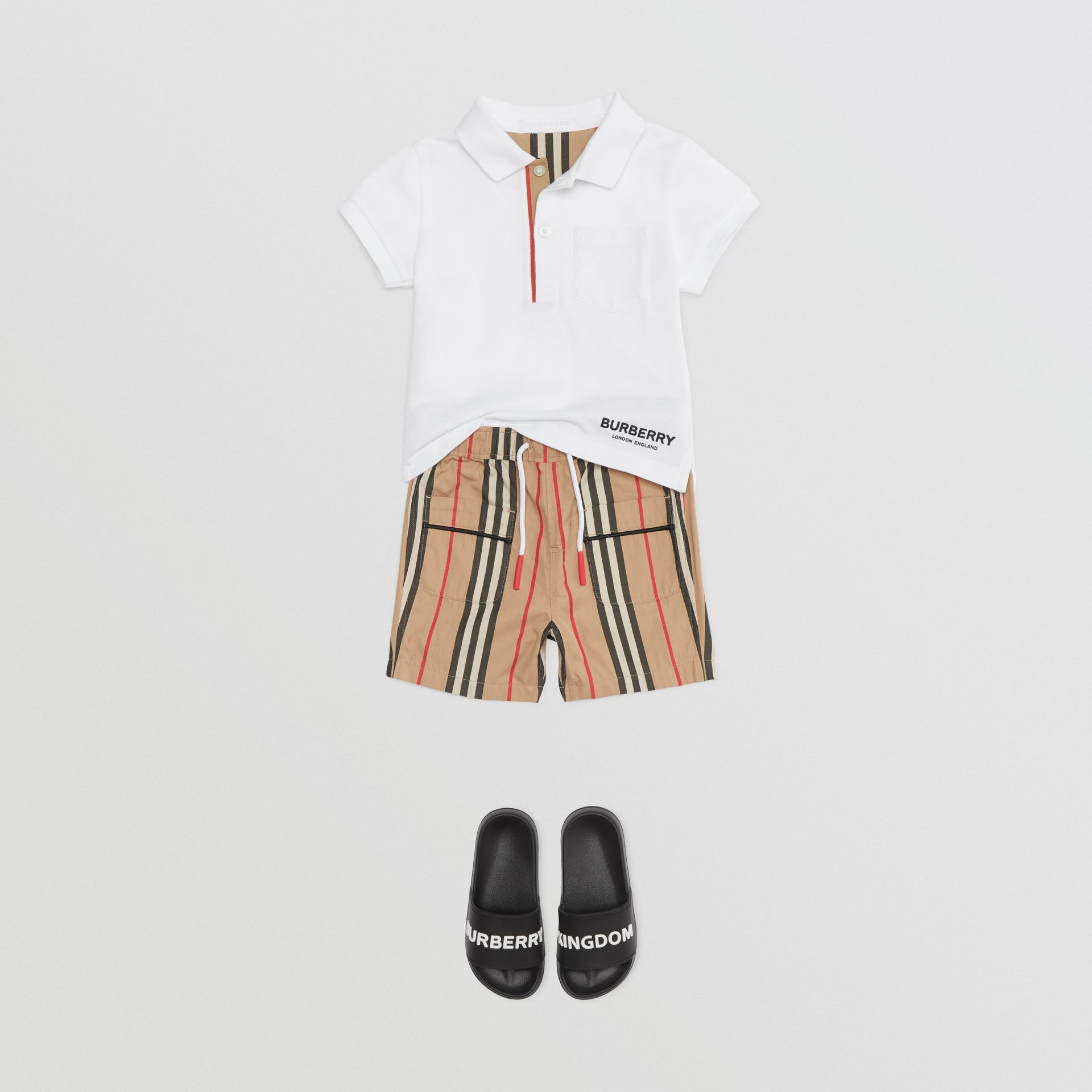 Icon Stripe Cotton Poplin Shorts in Archive Beige - Children | Burberry - gallery image 2