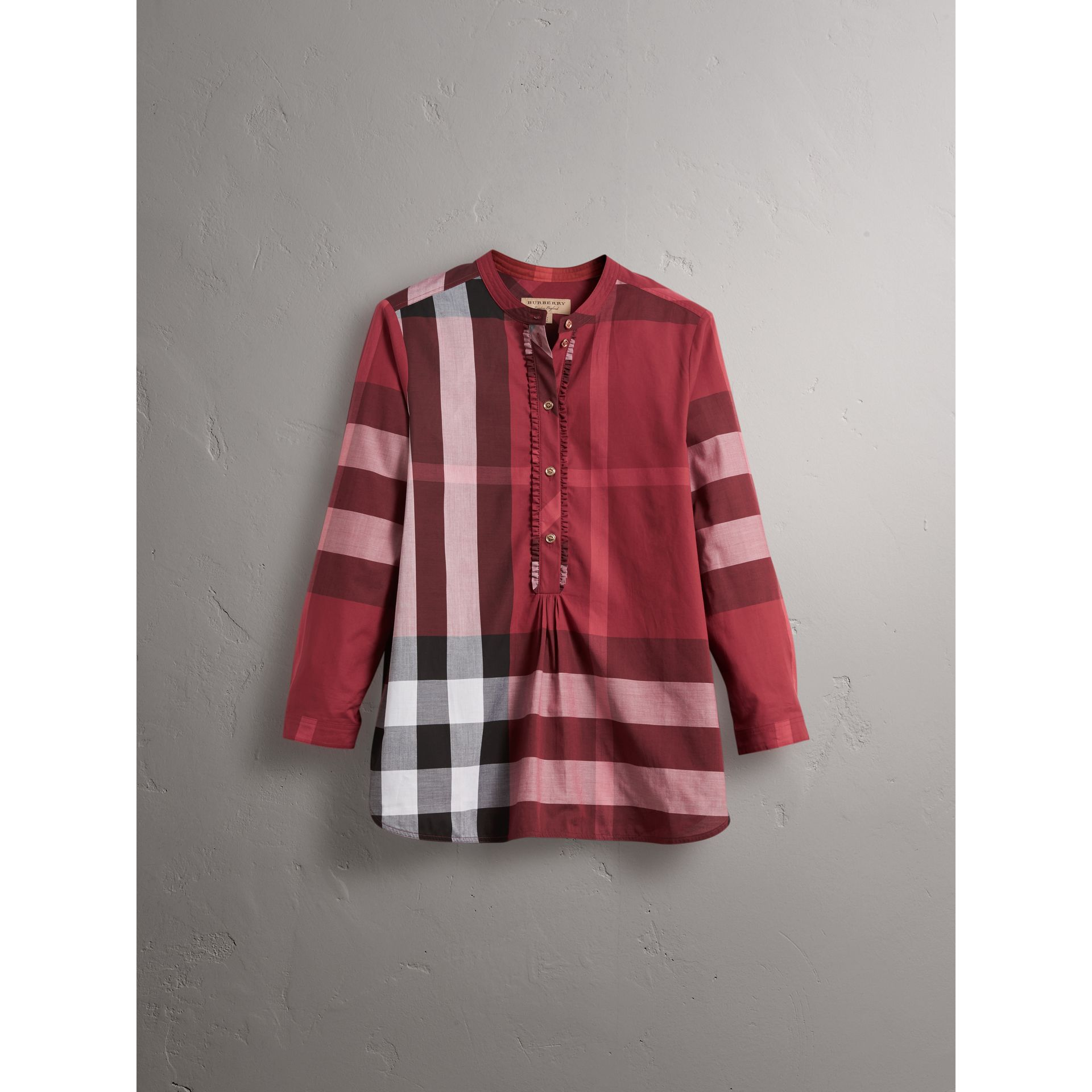 Check Grandad Collar Shirt in Carmine Red - Women | Burberry - gallery image 3