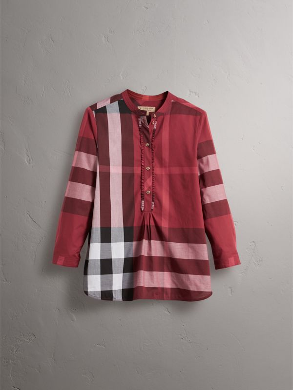 Check Grandad Collar Shirt in Carmine Red - Women | Burberry - cell image 3