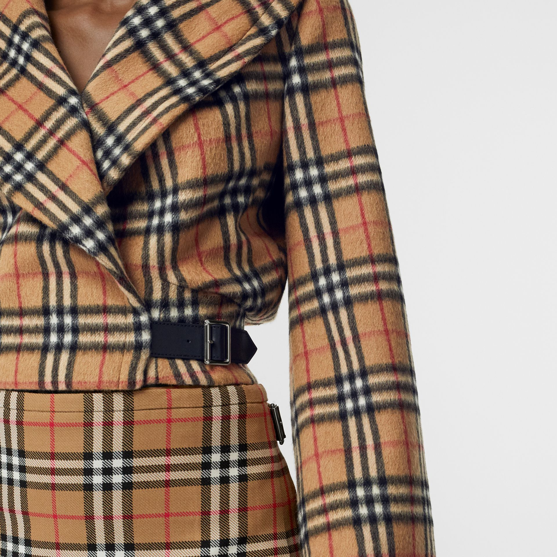 Vintage Check Alpaca Wool Hugger Jacket in Antique Yellow - Women | Burberry Australia - gallery image 4