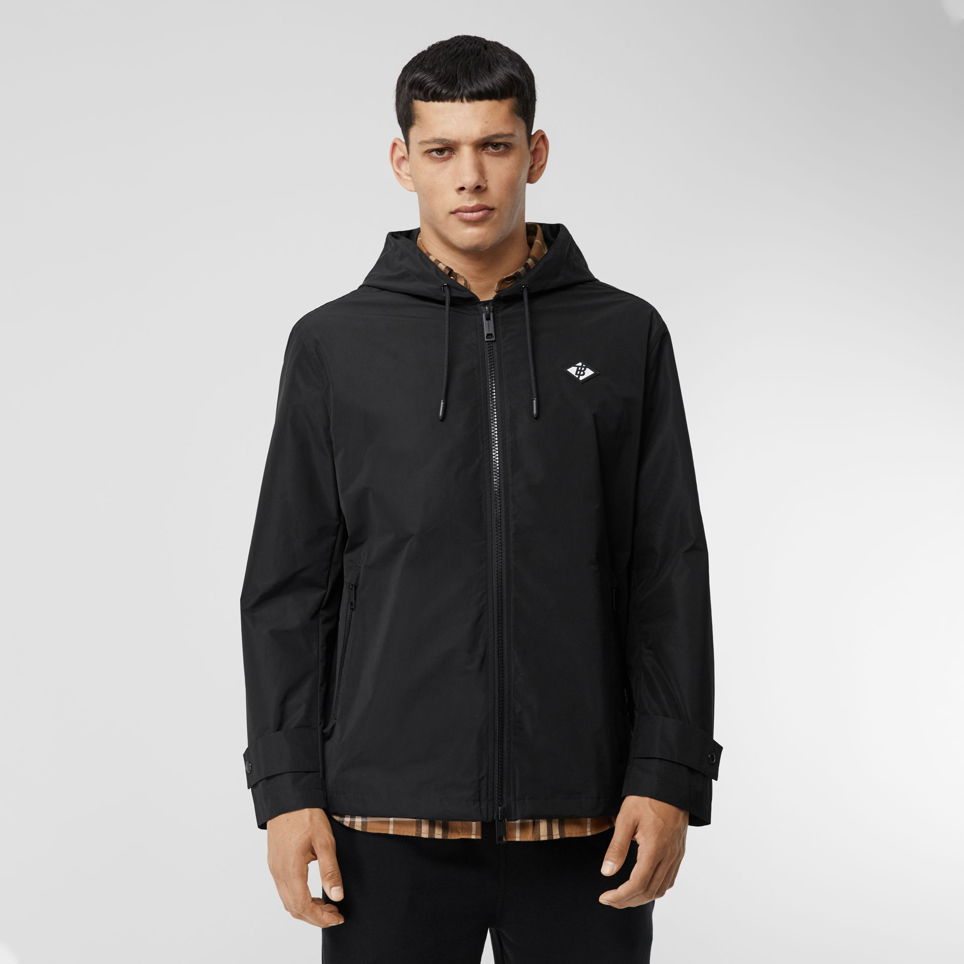 Logo Graphic Shape-memory Taffeta Hooded Jacket in Black - Men | Burberry - gallery image 5