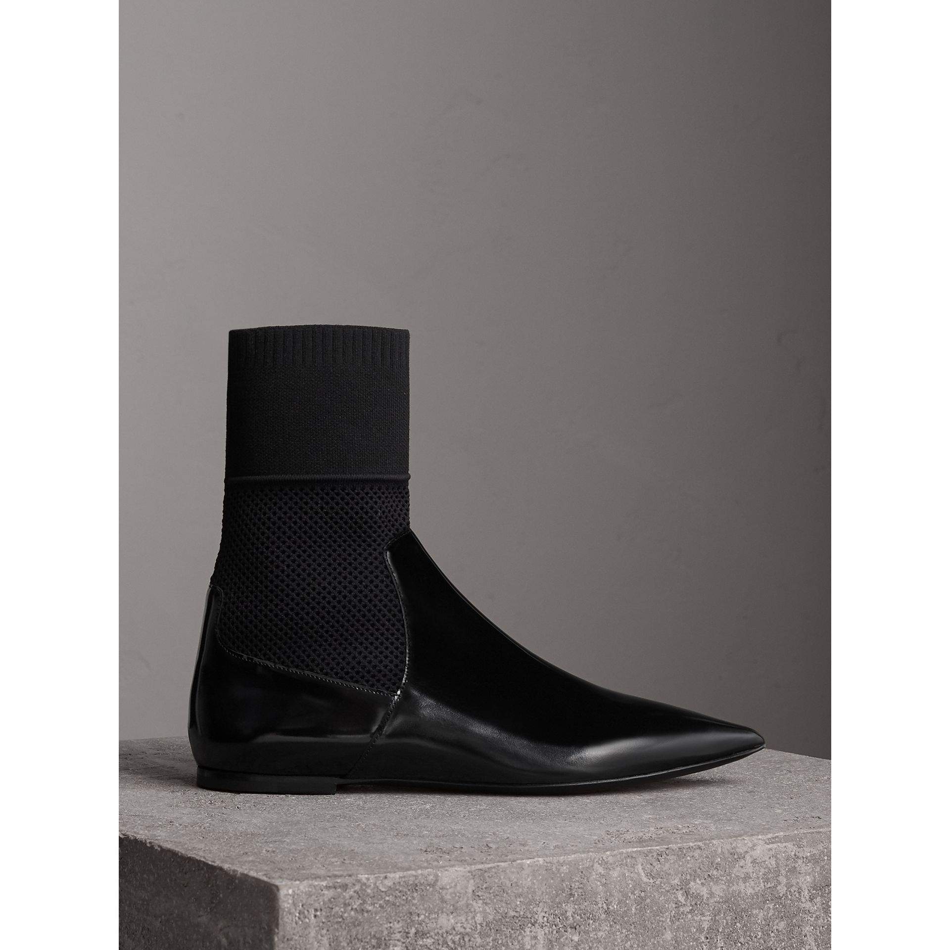 Patent Leather and Knitted Mesh Ankle Boots in Black - Women | Burberry - gallery image 0