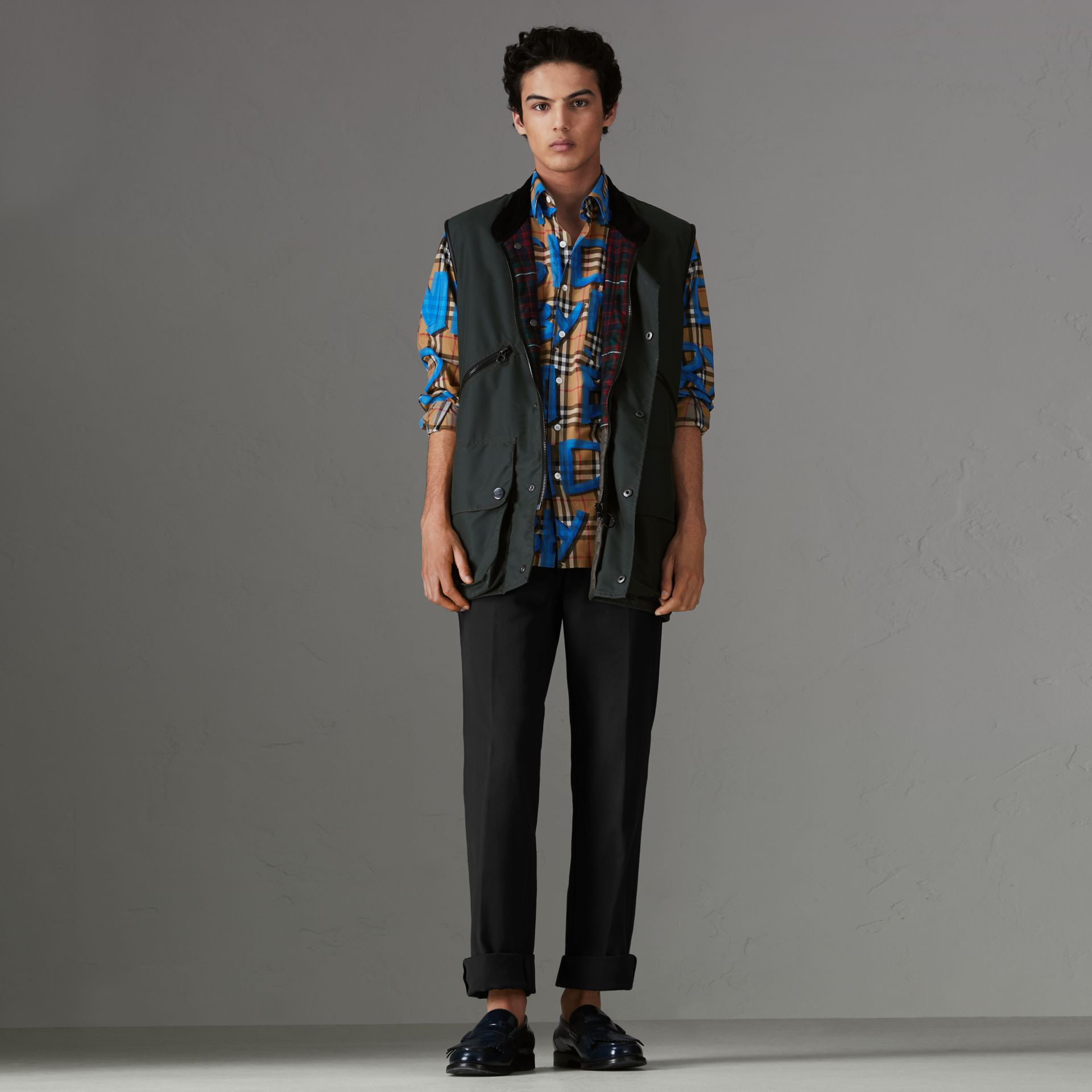Graffiti Print Vintage Check Shirt in Bright Blue - Men | Burberry - gallery image 4