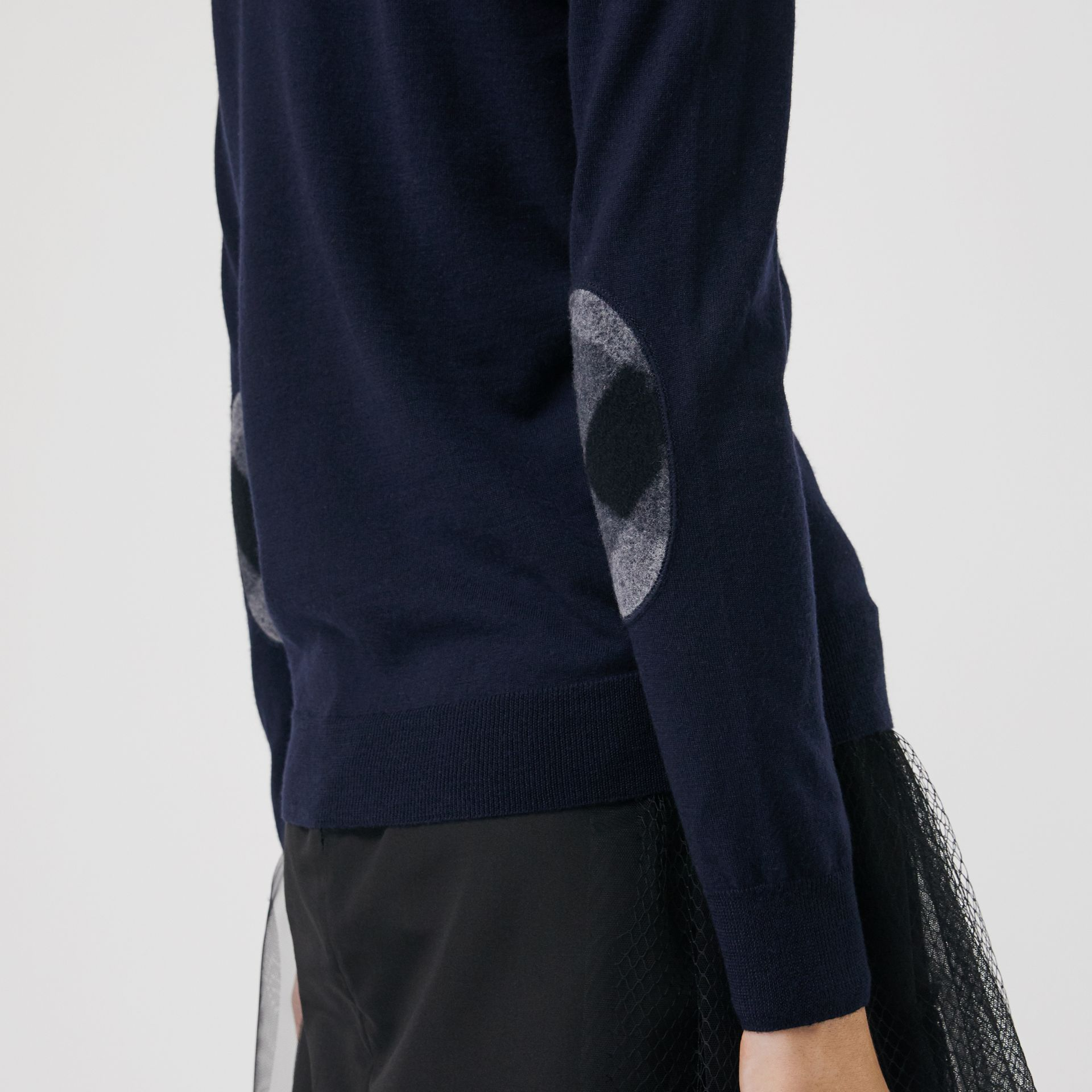 Check Detail Merino Wool Cardigan in Navy - Women | Burberry - gallery image 1