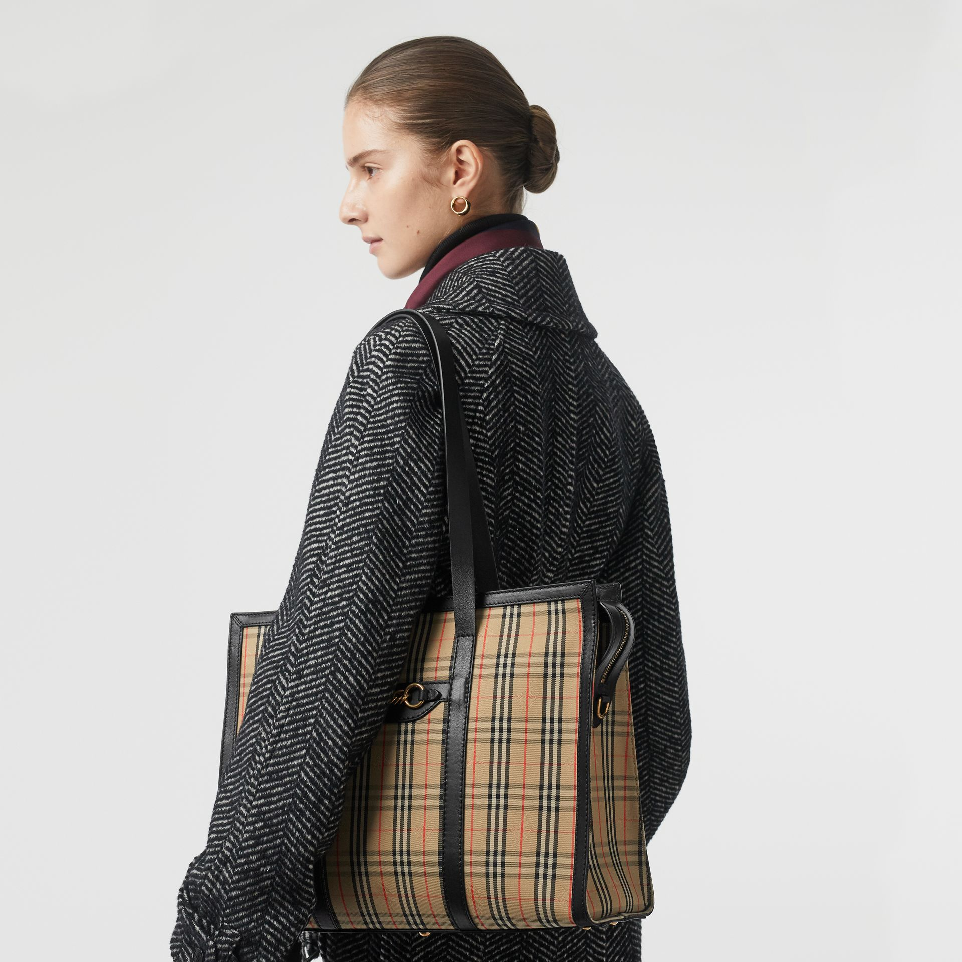 The 1983 Check Link Tote Bag in Black - Women | Burberry - gallery image 2