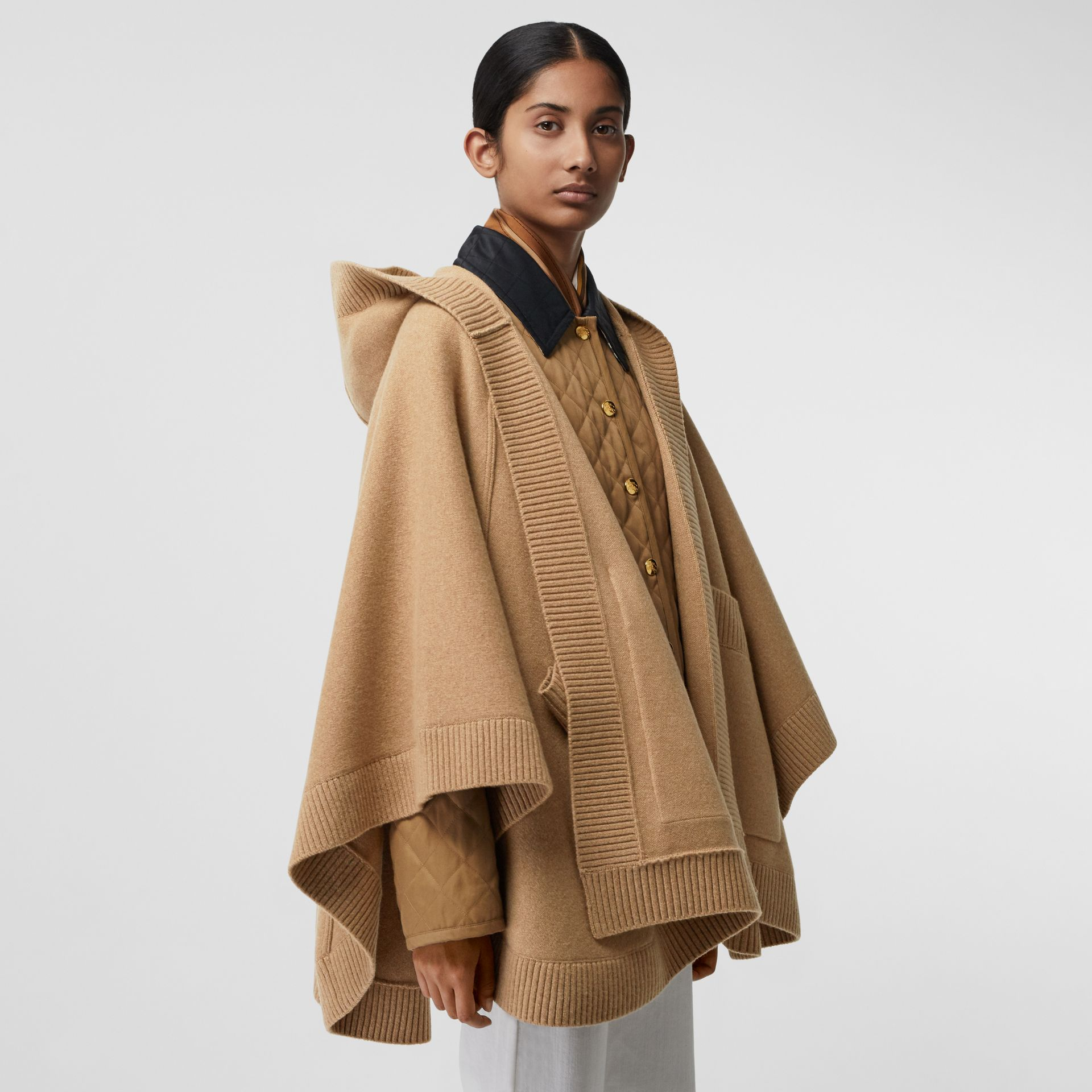 Crest Wool Blend Jacquard Hooded Cape in Rusty Camel - Women | Burberry - gallery image 2