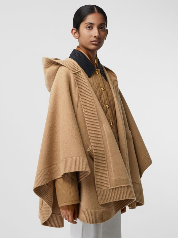 Crest Wool Blend Jacquard Hooded Cape in Rusty Camel - Women | Burberry - cell image 2