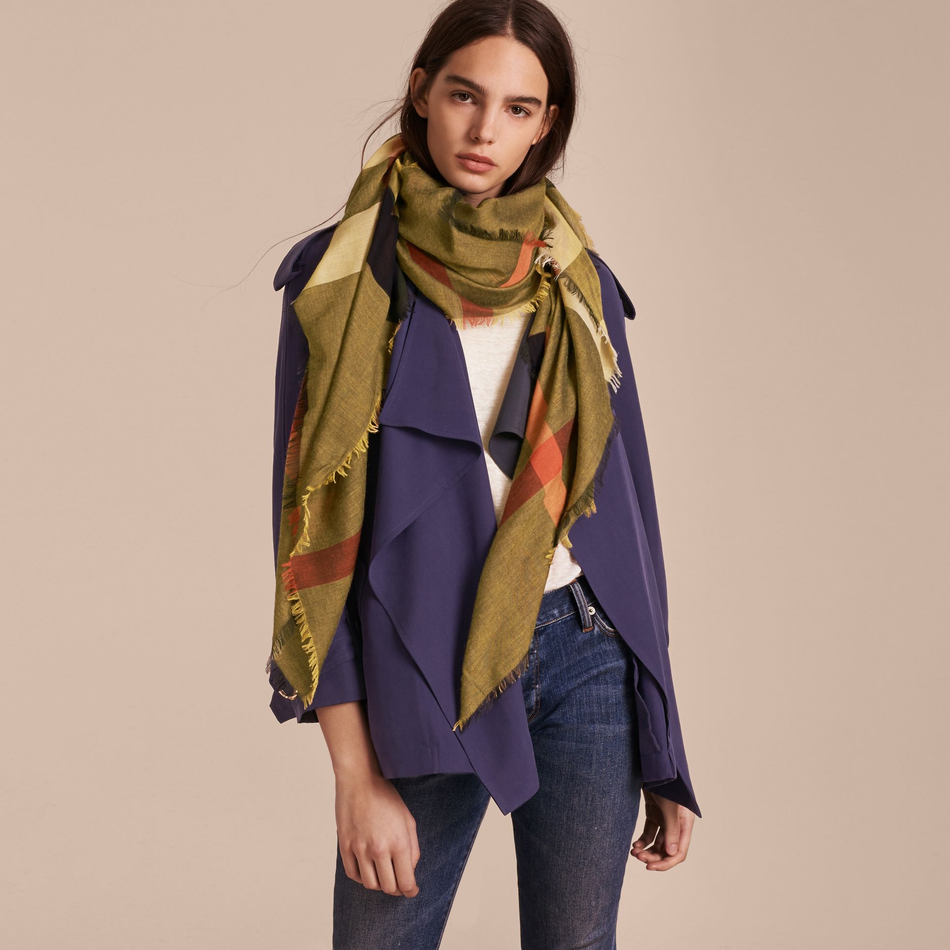 Check Modal and Wool Square Scarf in Amber Yellow - Women | Burberry - gallery image 3