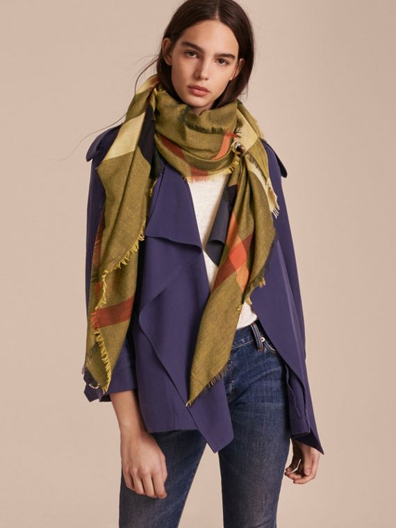 Check Modal and Wool Square Scarf in Amber Yellow - Women | Burberry - cell image 2