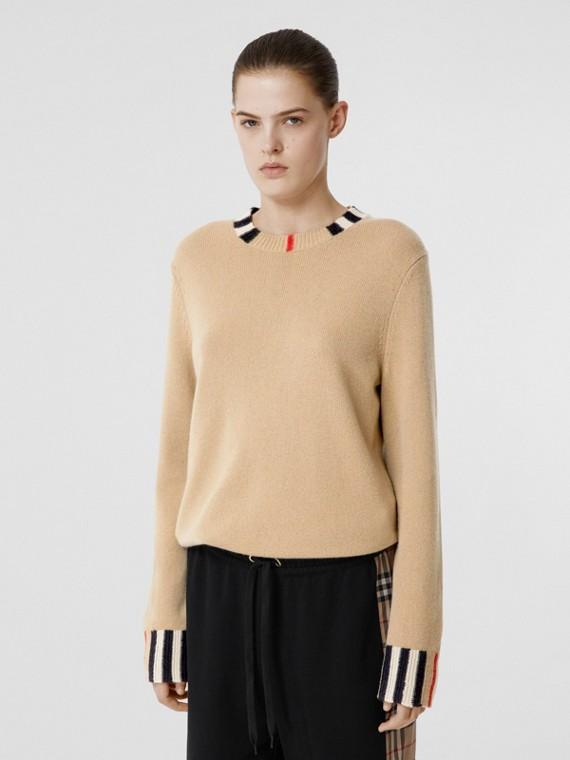 Pullover aus Kaschmir mit Streifendetails (Vintage-beige)