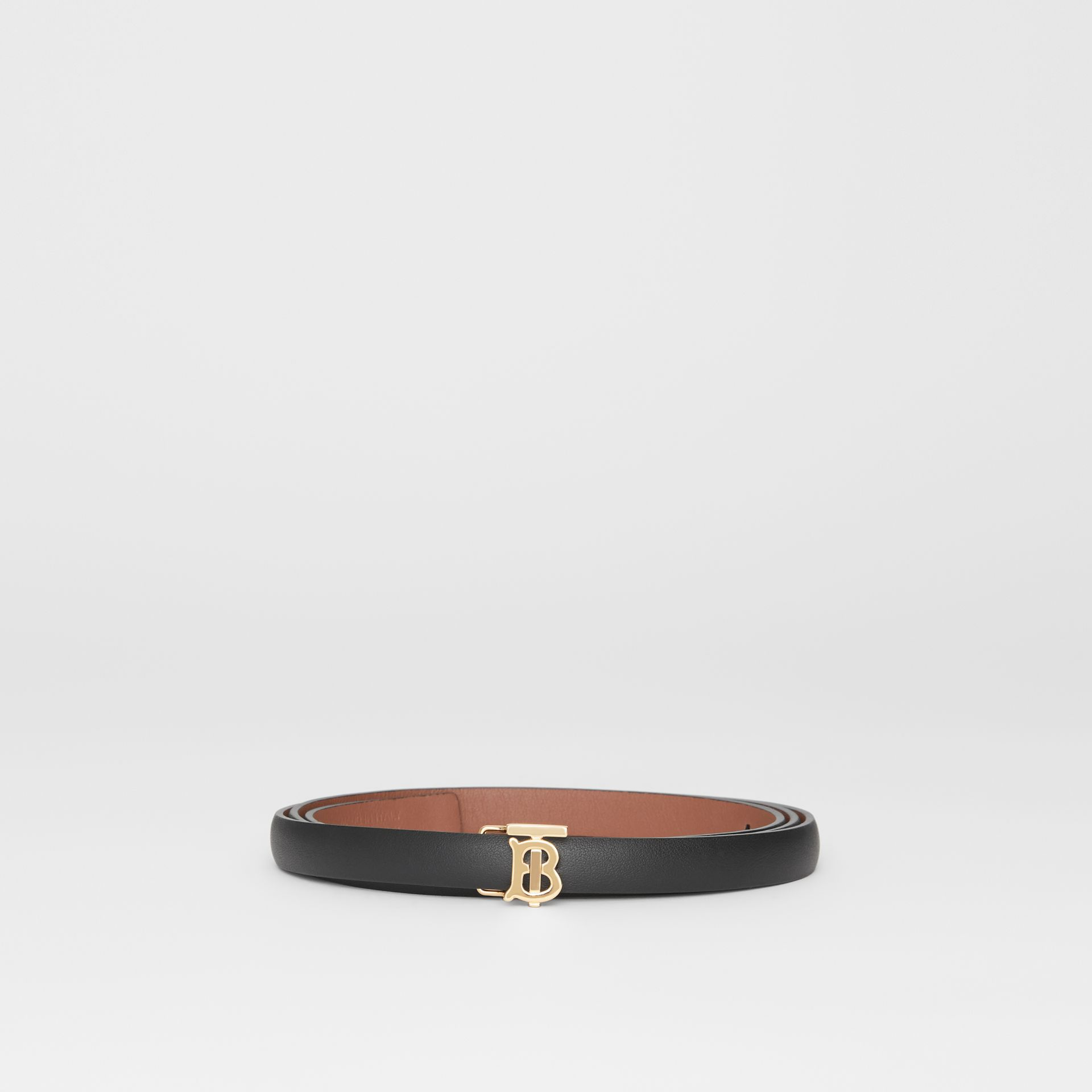 Reversible Monogram Motif Leather Wrap Belt in Black/malt Brown - Women | Burberry United Kingdom - gallery image 3