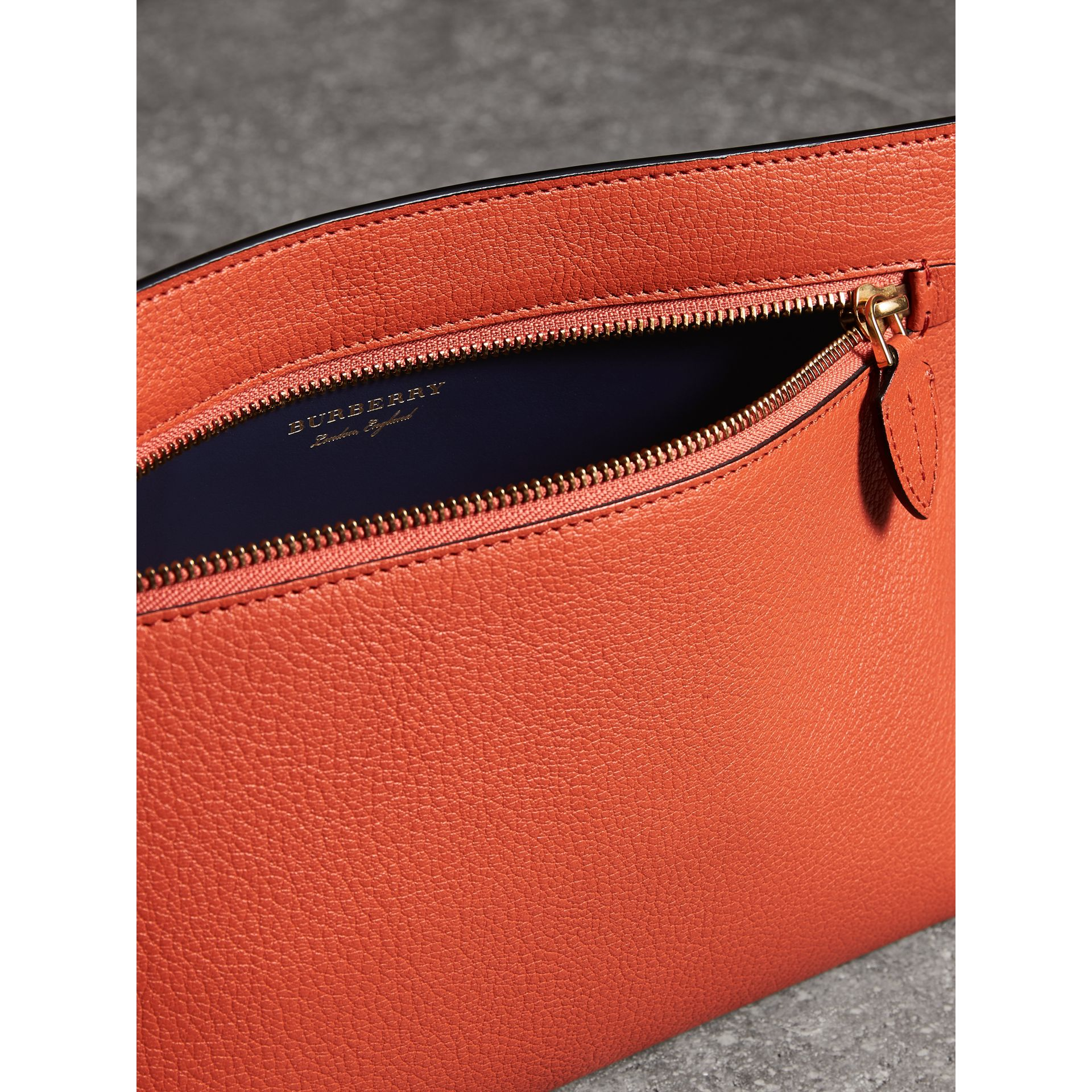 Grainy Leather Wristlet Clutch in Clementine - Women | Burberry Australia - gallery image 6