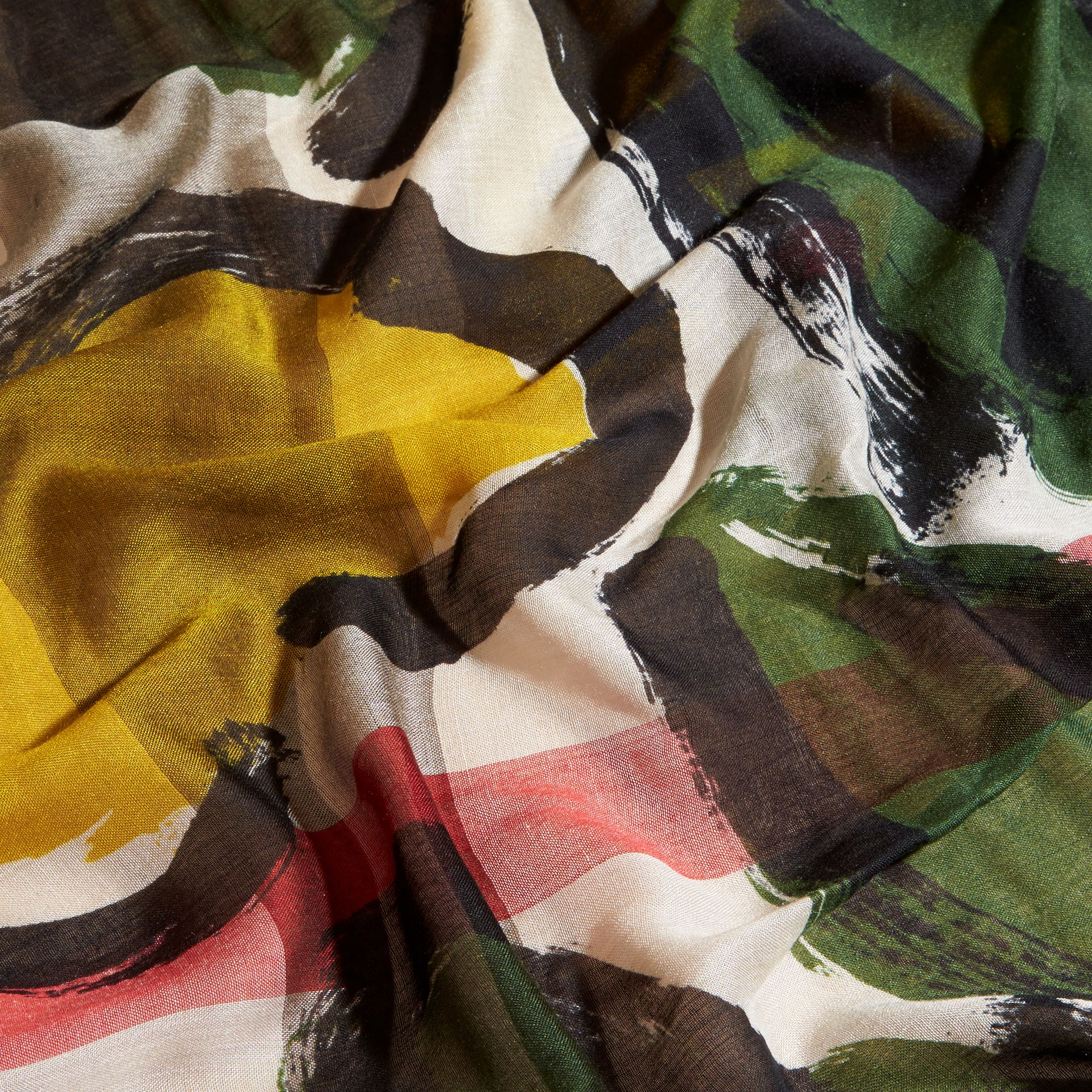 Painterly Print Check Modal, Silk and Cashmere Scarf Stone/olive Green - gallery image 2