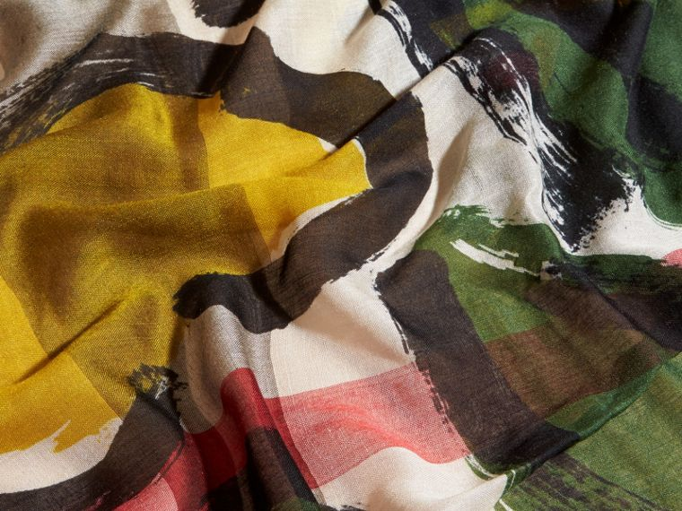 Painterly Print Check Modal, Silk and Cashmere Scarf Stone/olive Green - cell image 1