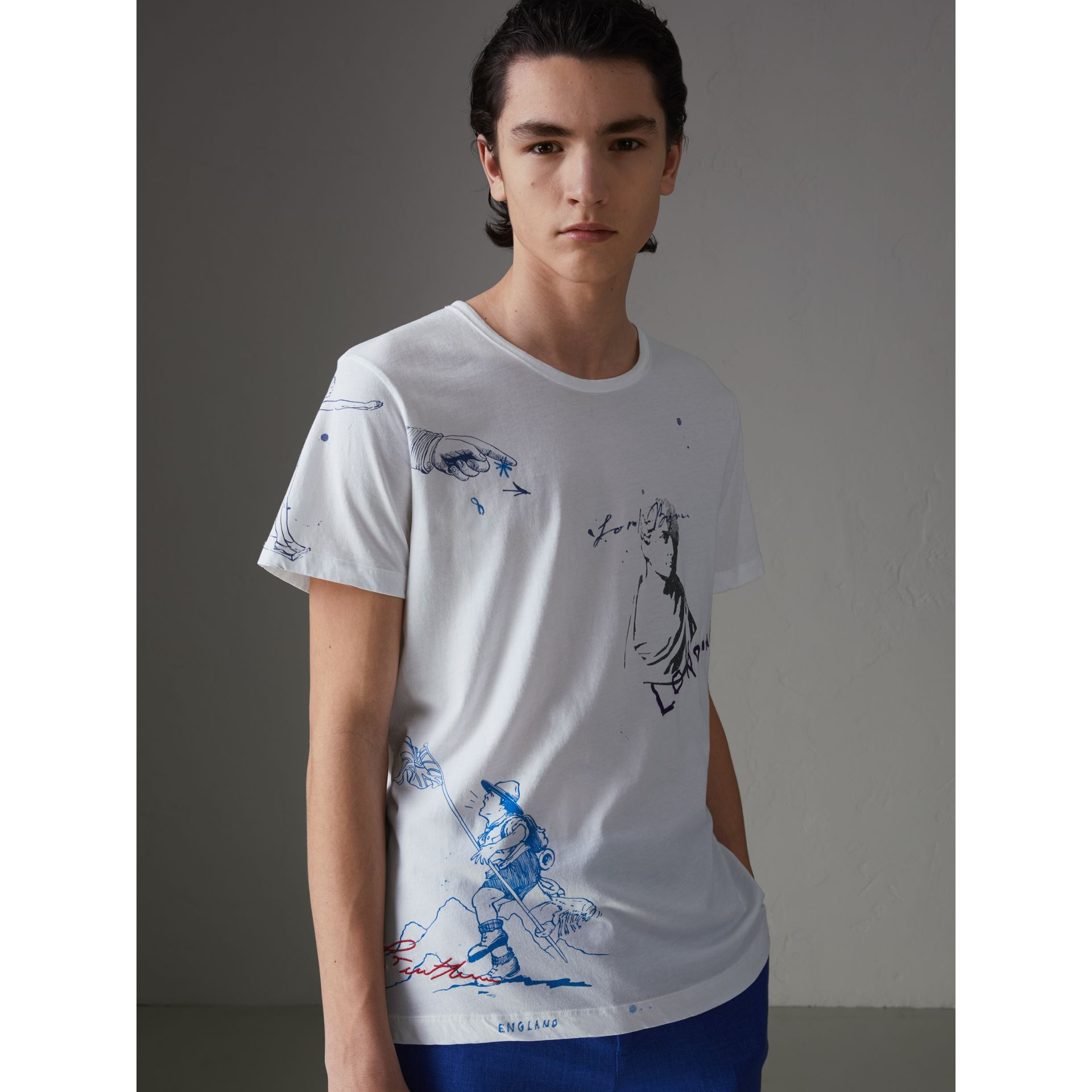 Sketch Print Cotton T-shirt in White - Men | Burberry - gallery image 4