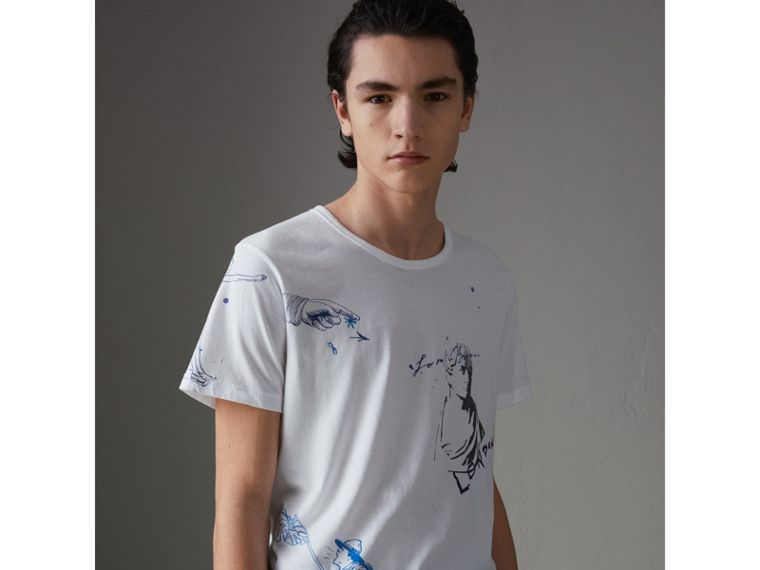 Sketch Print Cotton T-shirt in White - Men | Burberry Australia - cell image 4