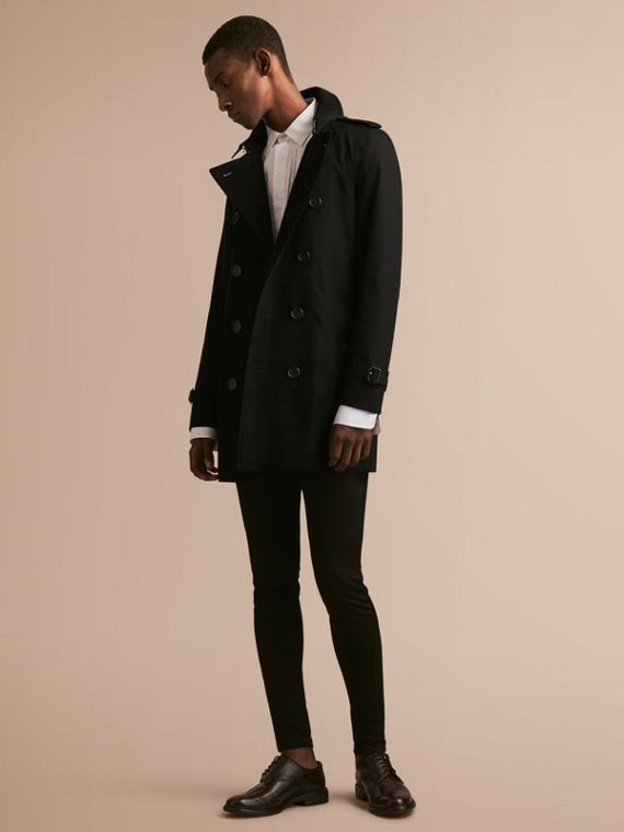 The Sandringham – Mid-length Heritage Trench Coat in Black