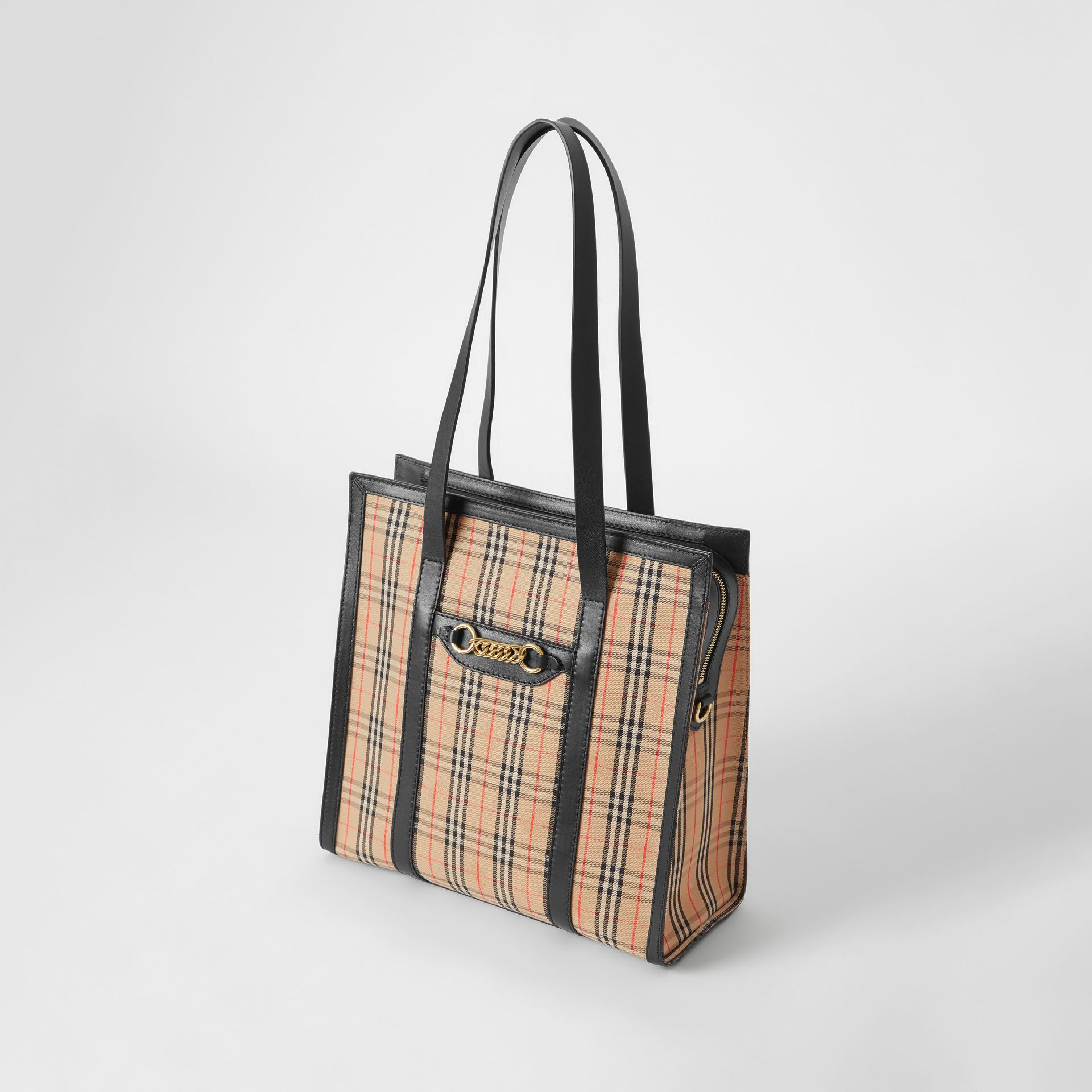 The Small 1983 Check Link Tote Bag in Black - Women | Burberry - gallery image 3