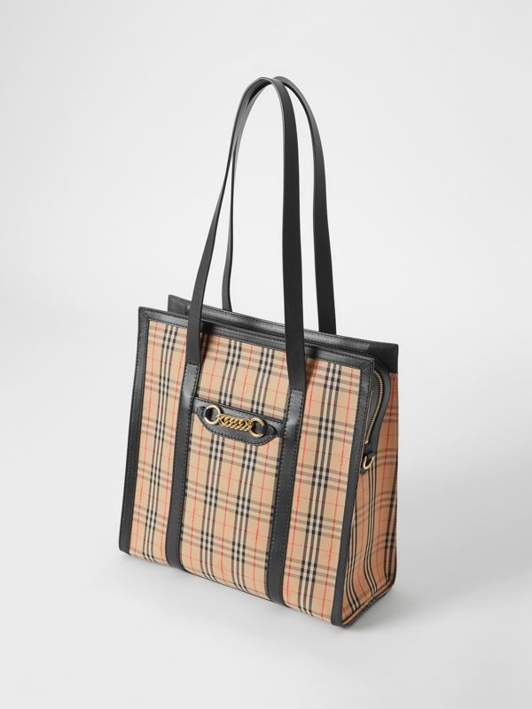 The Small 1983 Check Link Tote Bag in Black - Women | Burberry - cell image 3
