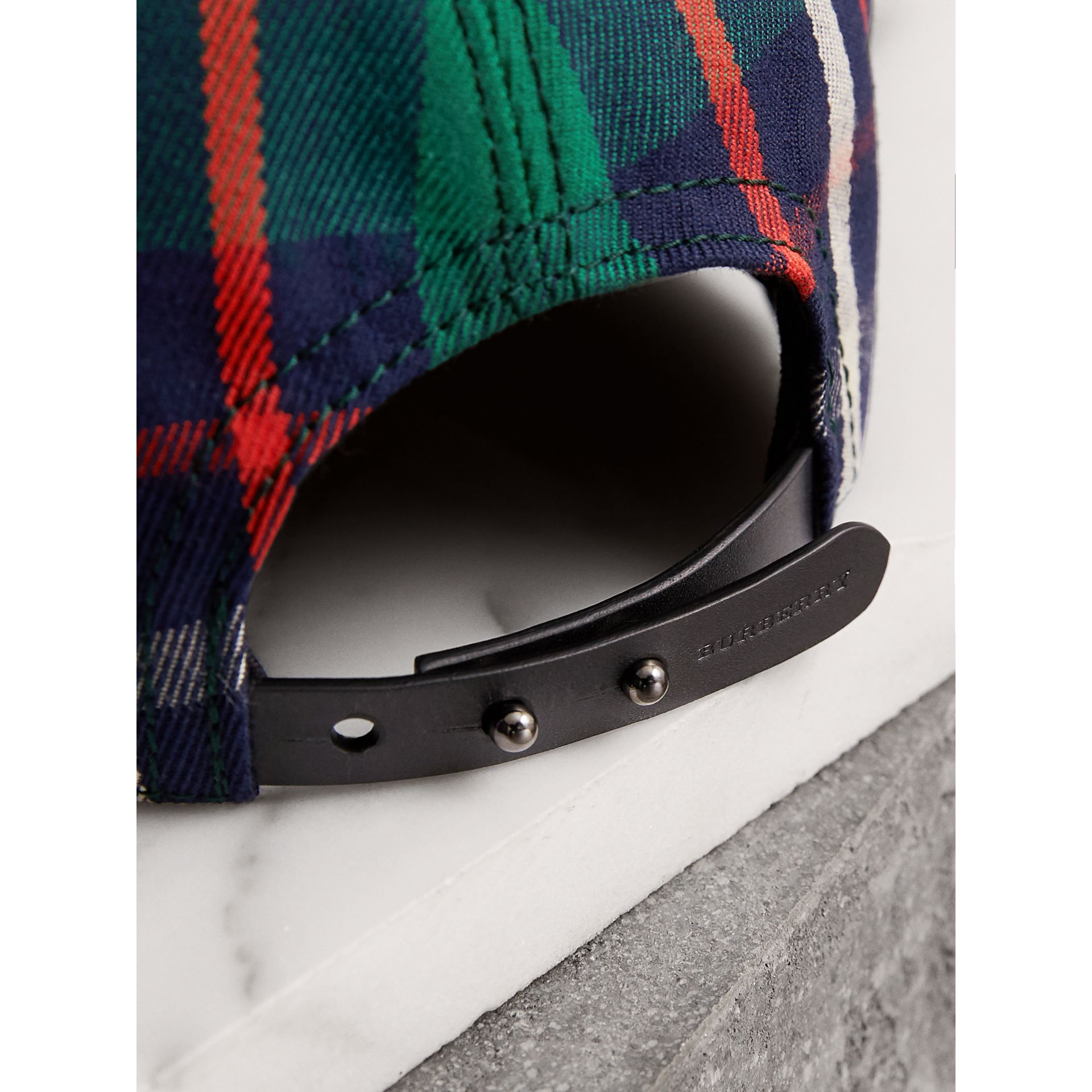 Check Baseball Cap in Forest Green | Burberry - gallery image 2
