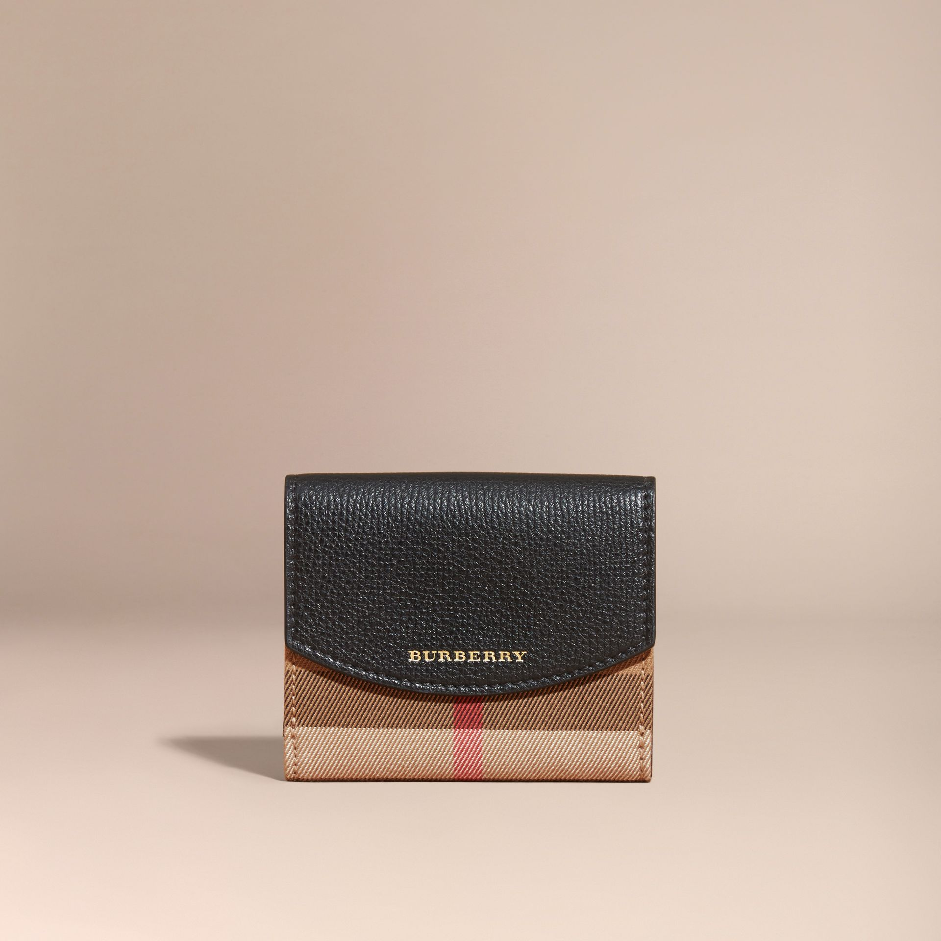 House Check and Leather Wallet in Black - Women | Burberry - gallery image 8