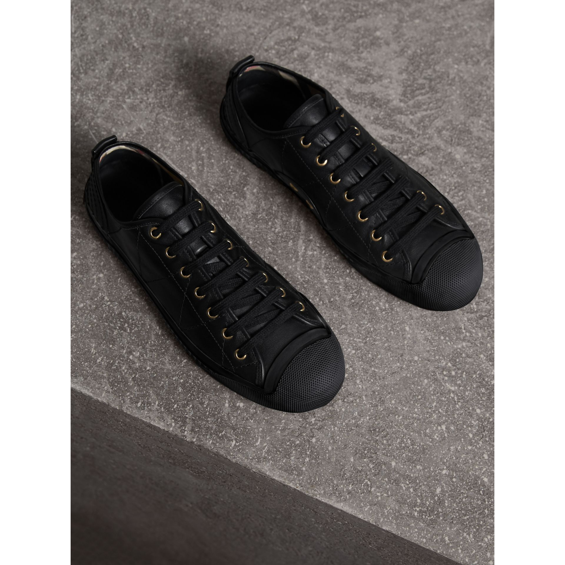 Topstitched Leather Trainers in Black - Men | Burberry - gallery image 5