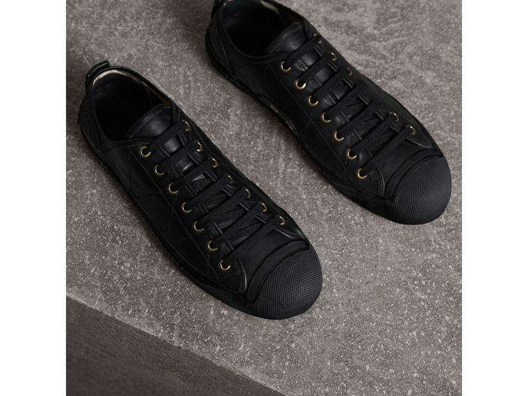 Topstitched Leather Trainers in Black - Men | Burberry - cell image 4